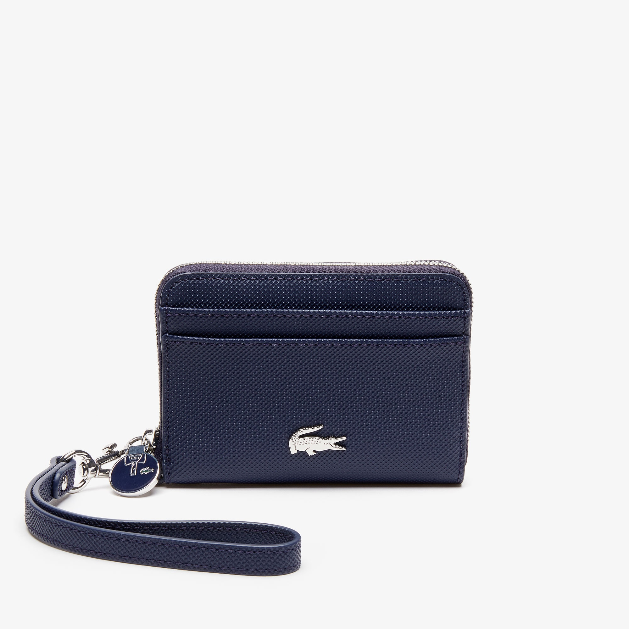 라코스테 Lacoste Womens Daily Classic Small Coated Pique Canvas Zip Wallet,peacoat