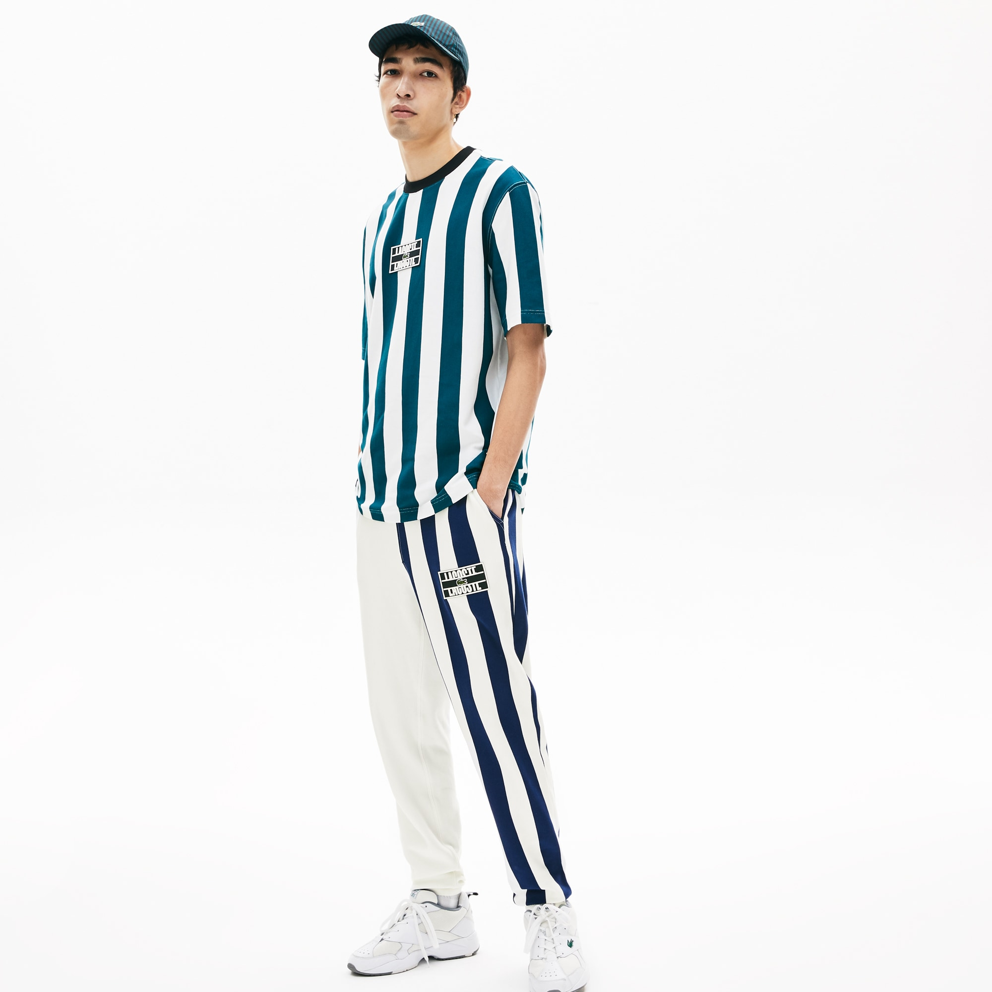 라코스테 라이브 라코스테 Lacoste Mens LIVE Bicolor Fleece Tracksuit Pants,White / Navy Blue / White L1K