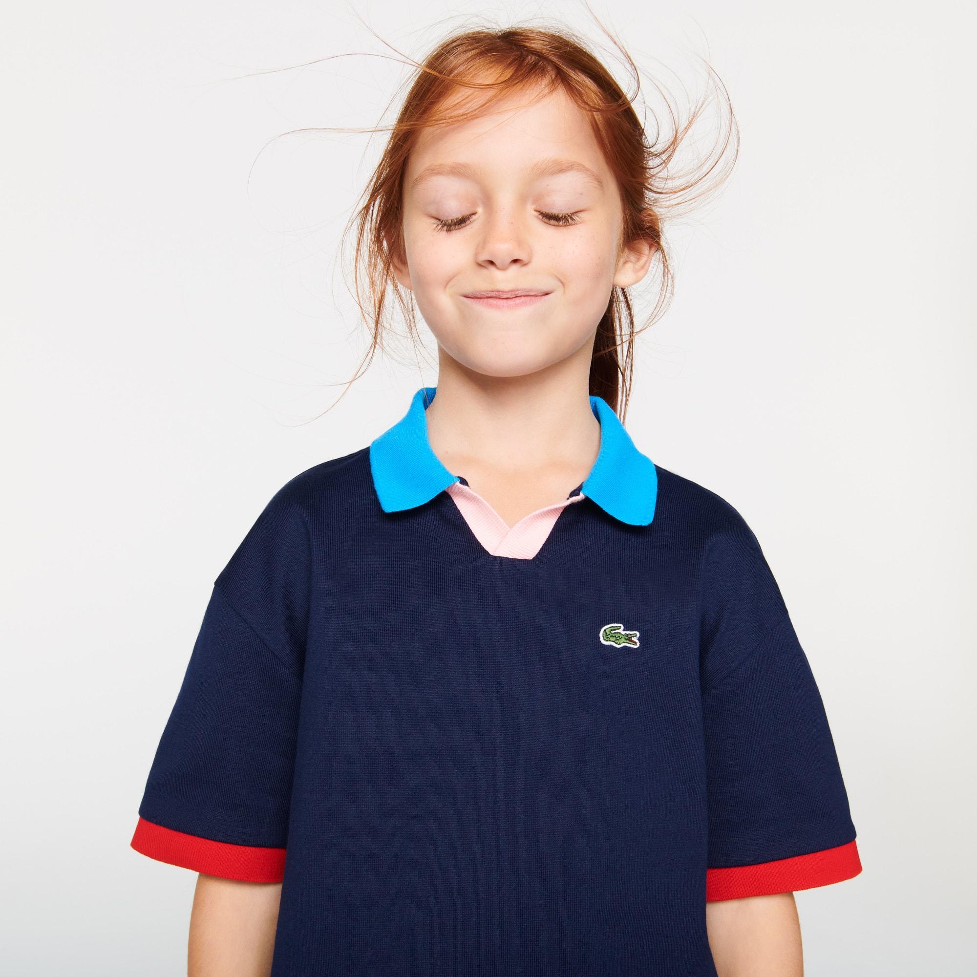 라코스테 걸즈 컬러블록 폴로티 Lacoste Girls' Colorblock Cotton Polo,Navy Blue / White QRN