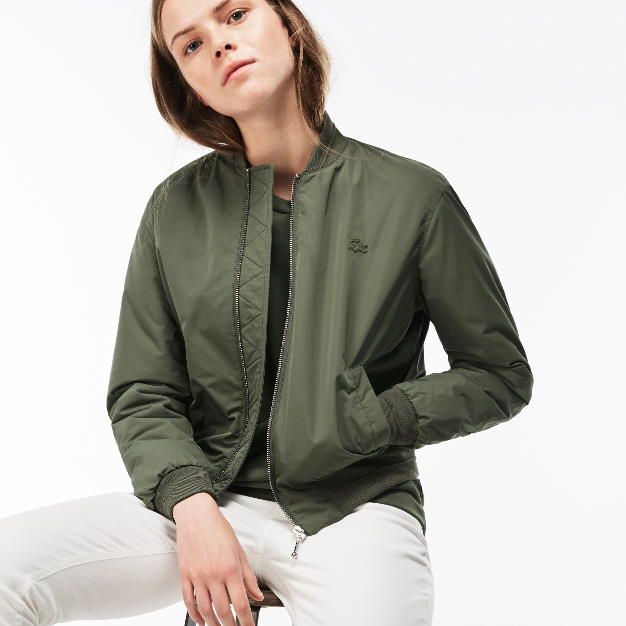 Women's Contrast Bands Quilted Water-Resistant Taffeta Bomber