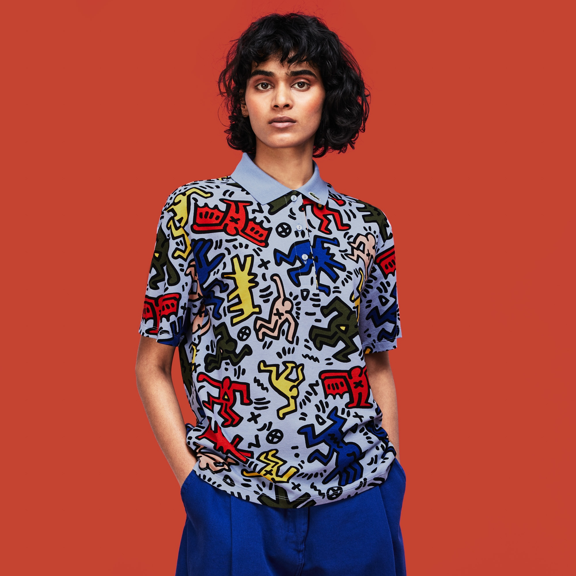 Women's Keith Haring Print Mini Piqué Polo