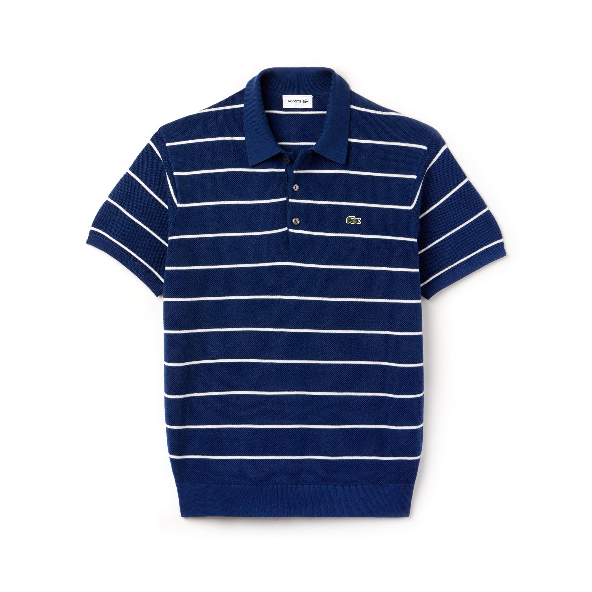 Men's Polo Collar Striped Piqué Sweater