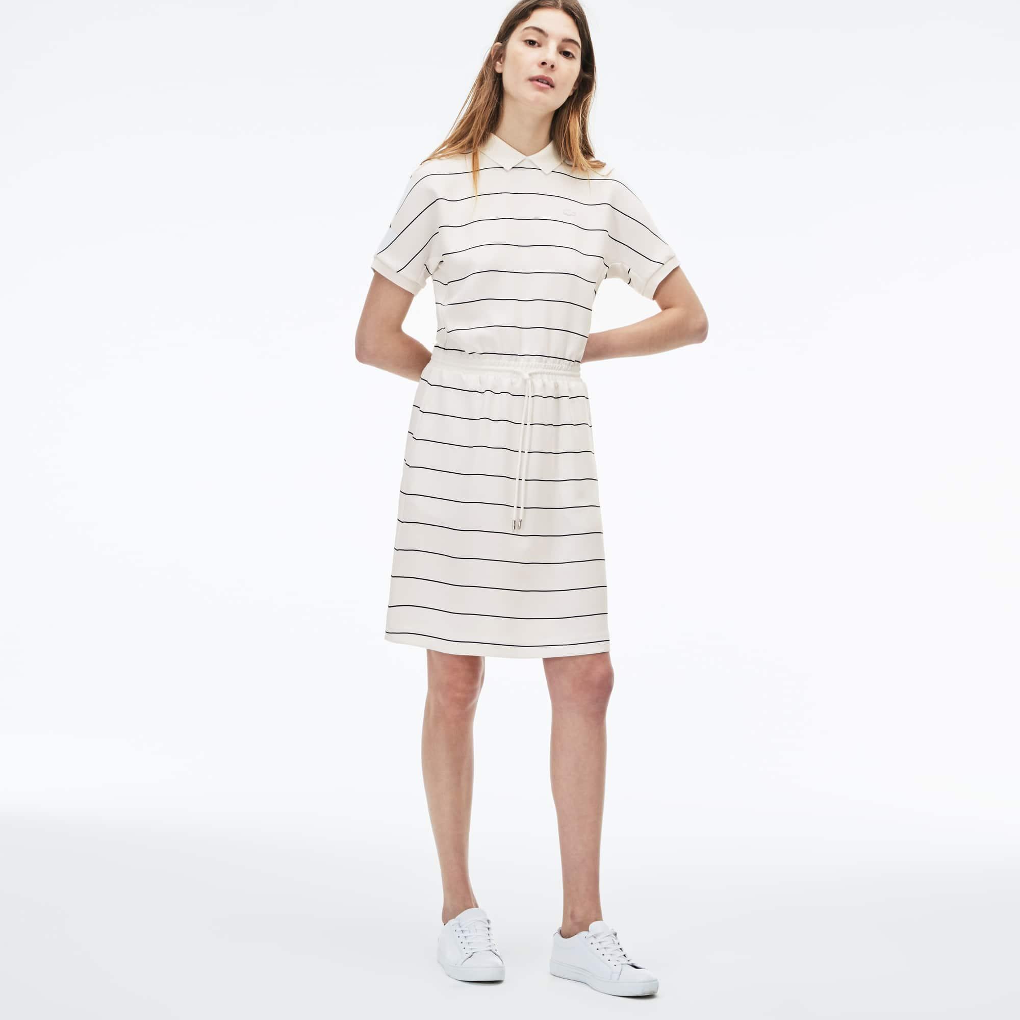 Women's Elasticized Waistband Flowing Striped Cady Knit Polo Dress