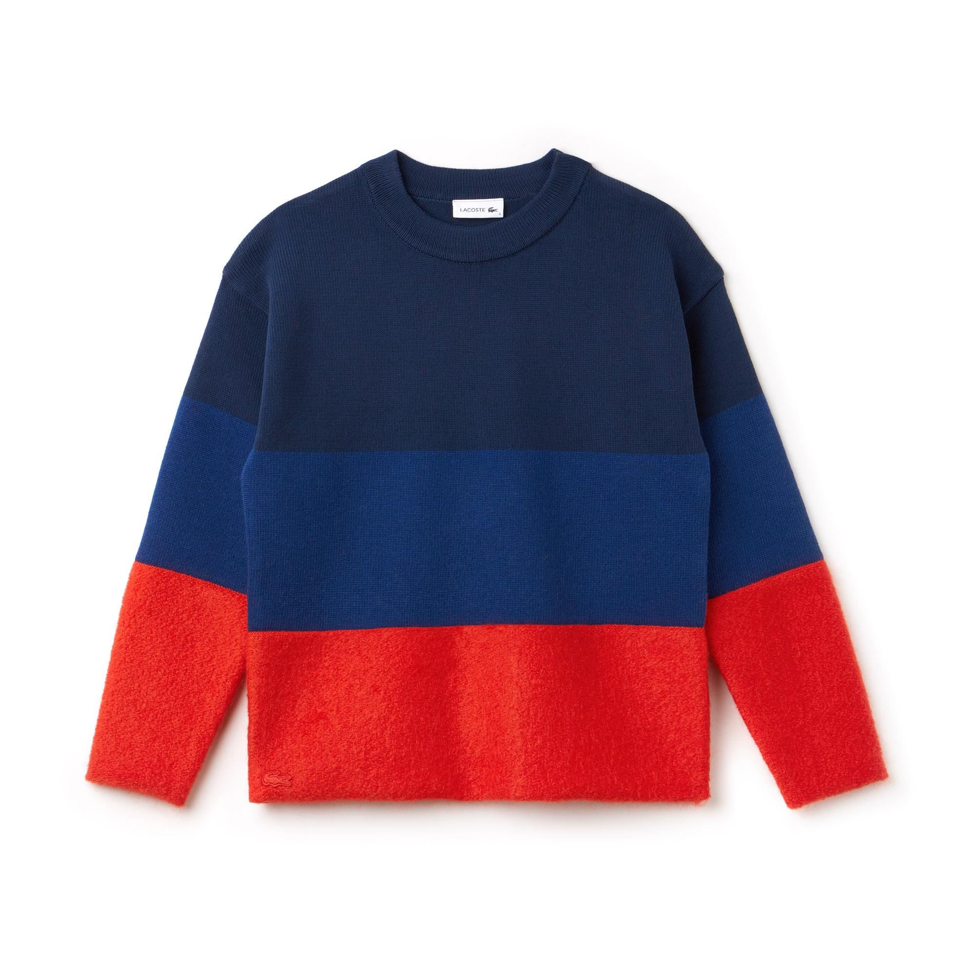 라코스테 스웨터 Lacoste Womens Crew Neck Colorblock Cotton, Mohair And Wool Jersey Sweater,POMEGRENATE/INKWELL-NAVY