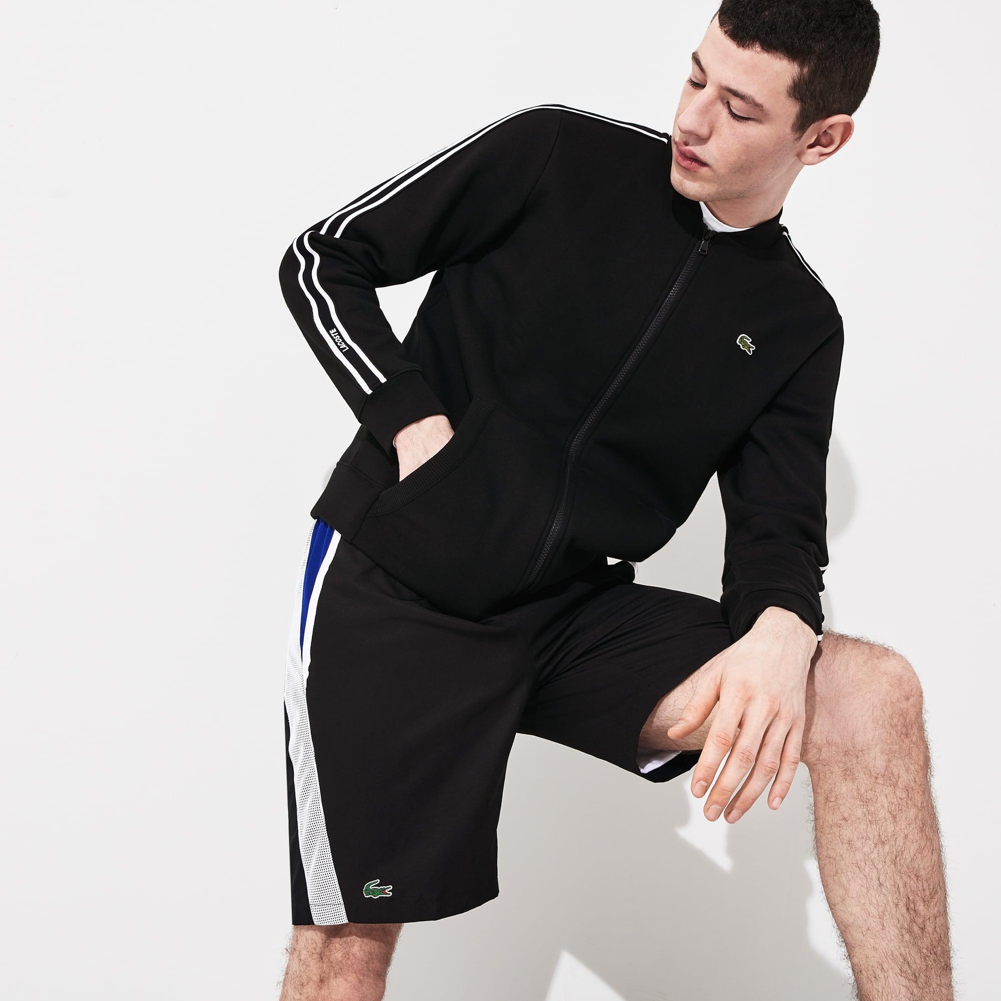 라코스테 스포츠 자켓 Lacoste Mens SPORT Fleece Varsity Jacket,Black / White / Black - 6KJ