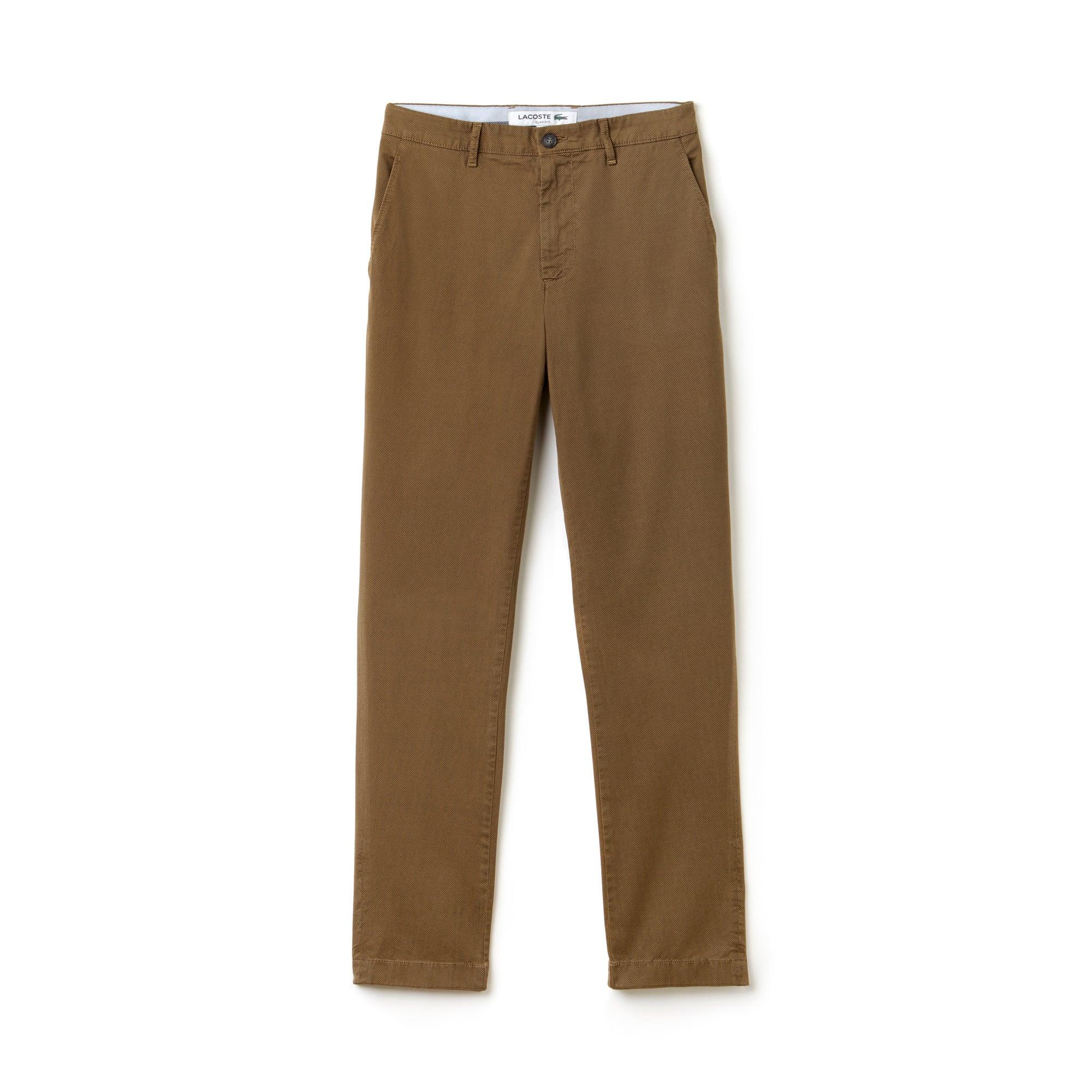 라코스테 Lacoste Mens Slim Fit Print Stretch Twill Chino Pants,DARK RENAISSANCE BROWN/MI