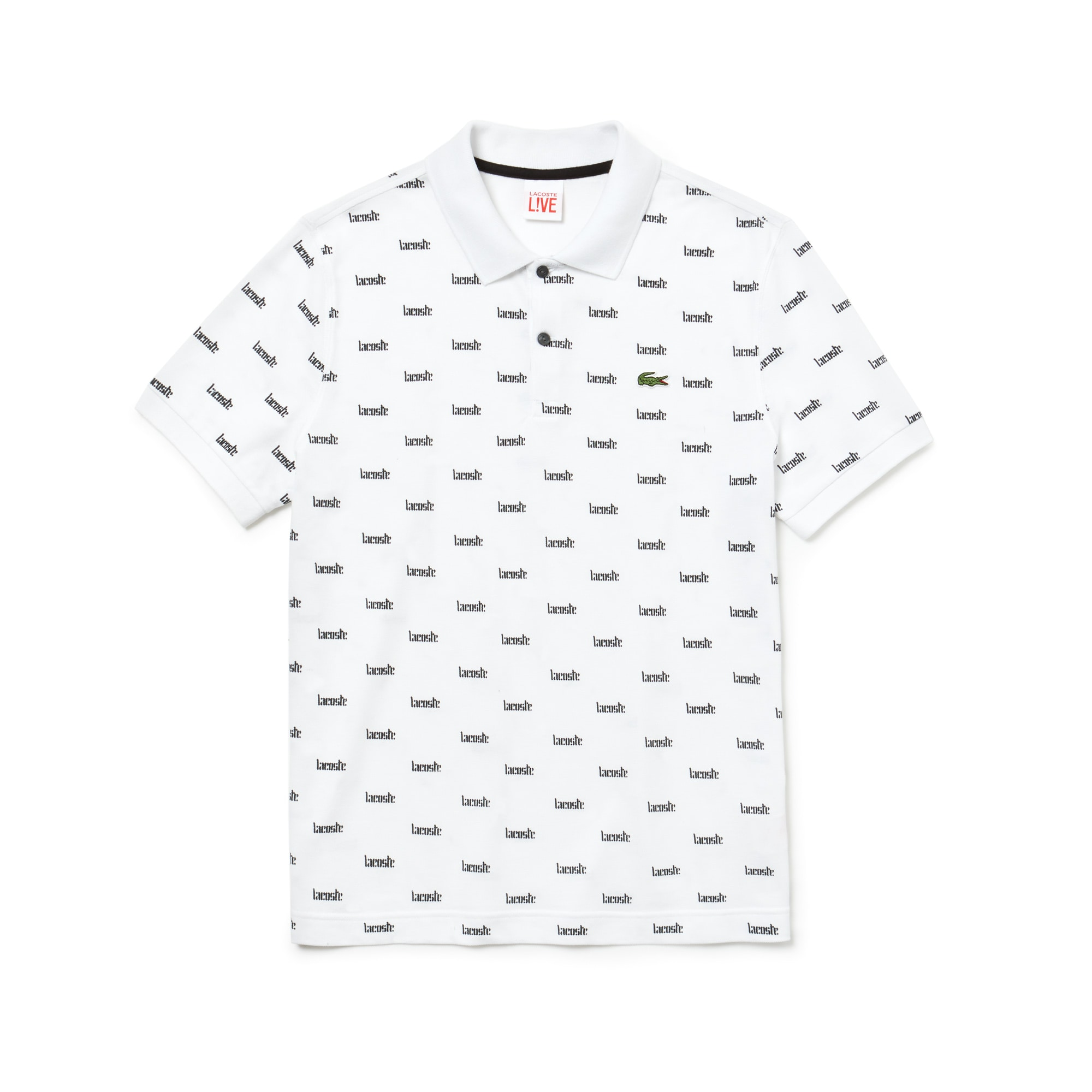 Men's LIVE Slim Fit Print Cotton Mini Piqué Polo