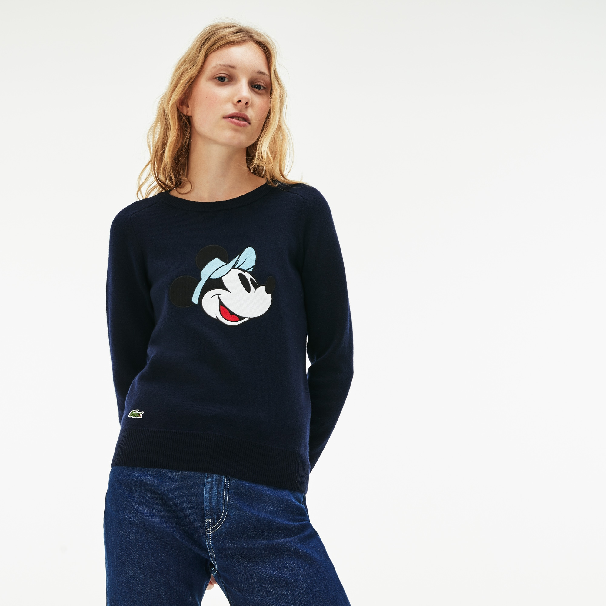 Women's Crew Neck Disney Minnie Embroidery Interlock Sweater