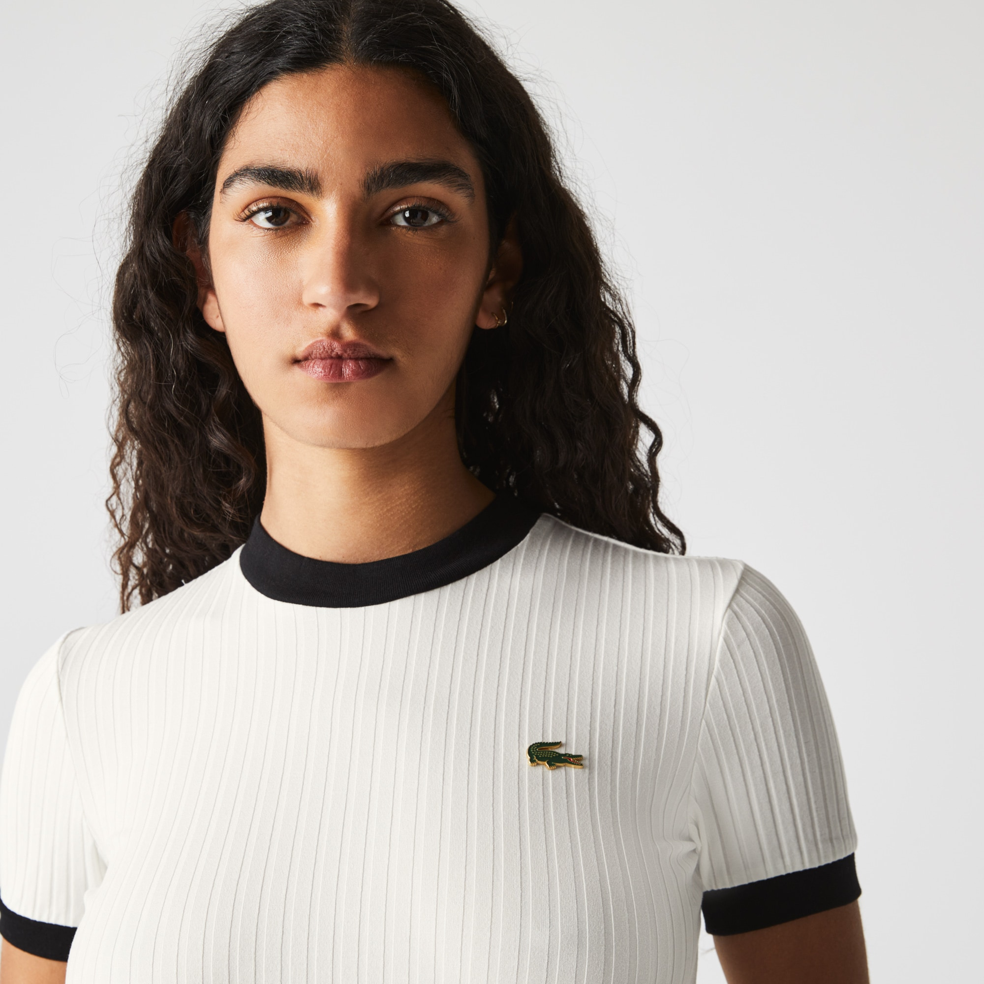 Lacoste Women's LIVE Crew Neck Contrast Accent Ribbed T-shirt