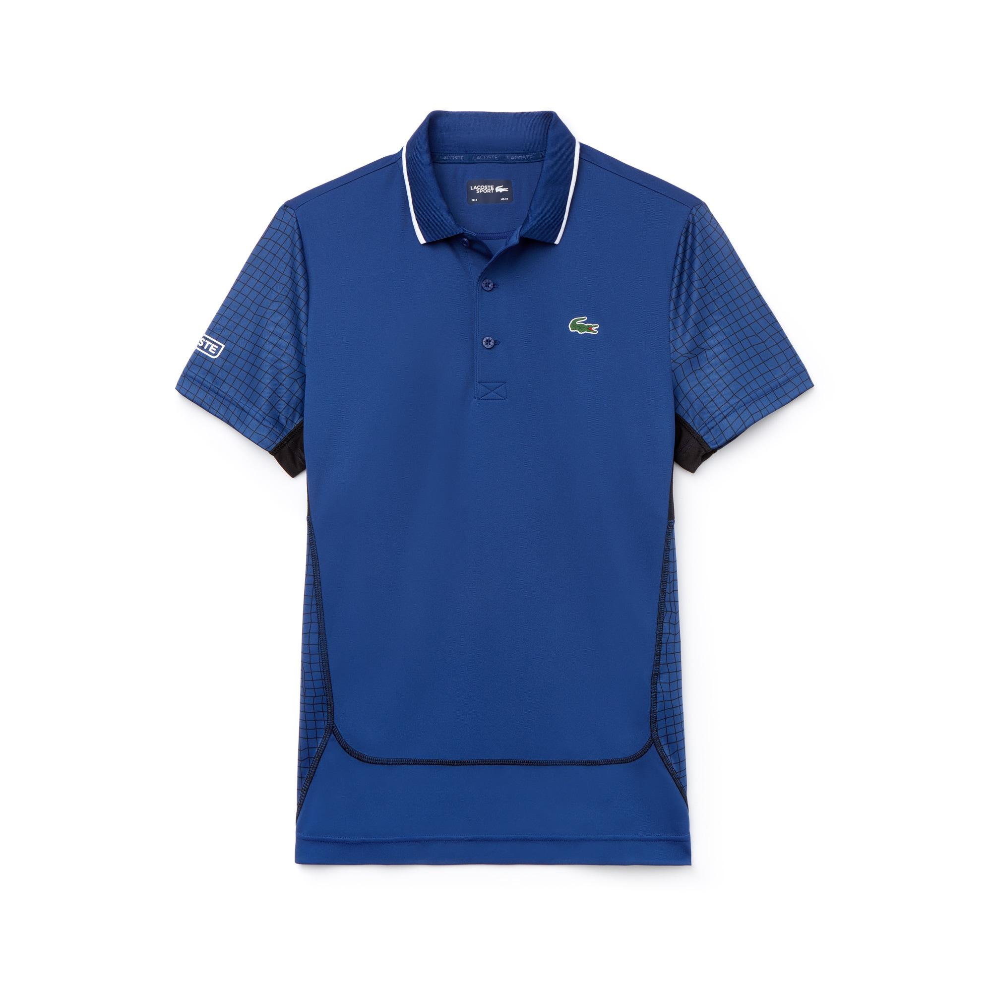 라코스테 Lacoste Mens SPORT Net Print Pique Tennis Polo,navy blue / black / black / black / white
