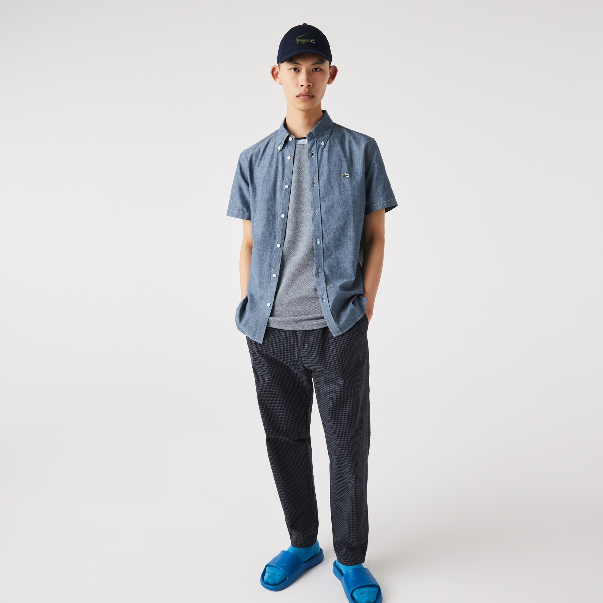 라코스테 Lacoste Mens Slim Fit Cotton Chambray Shirt,Blue CDZ