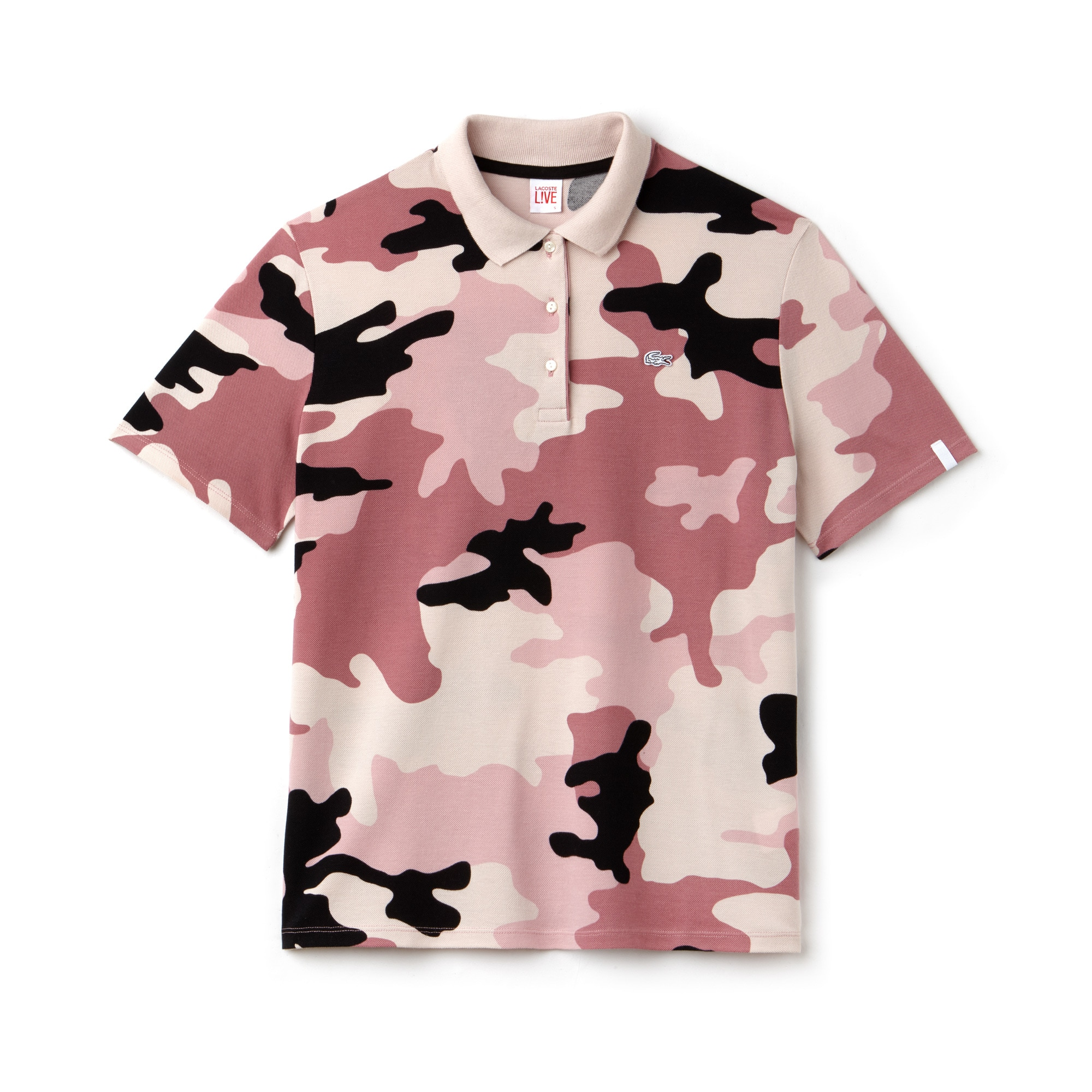 Women's LIVE Loose Fit Camouflage Print Mini Piqué Polo