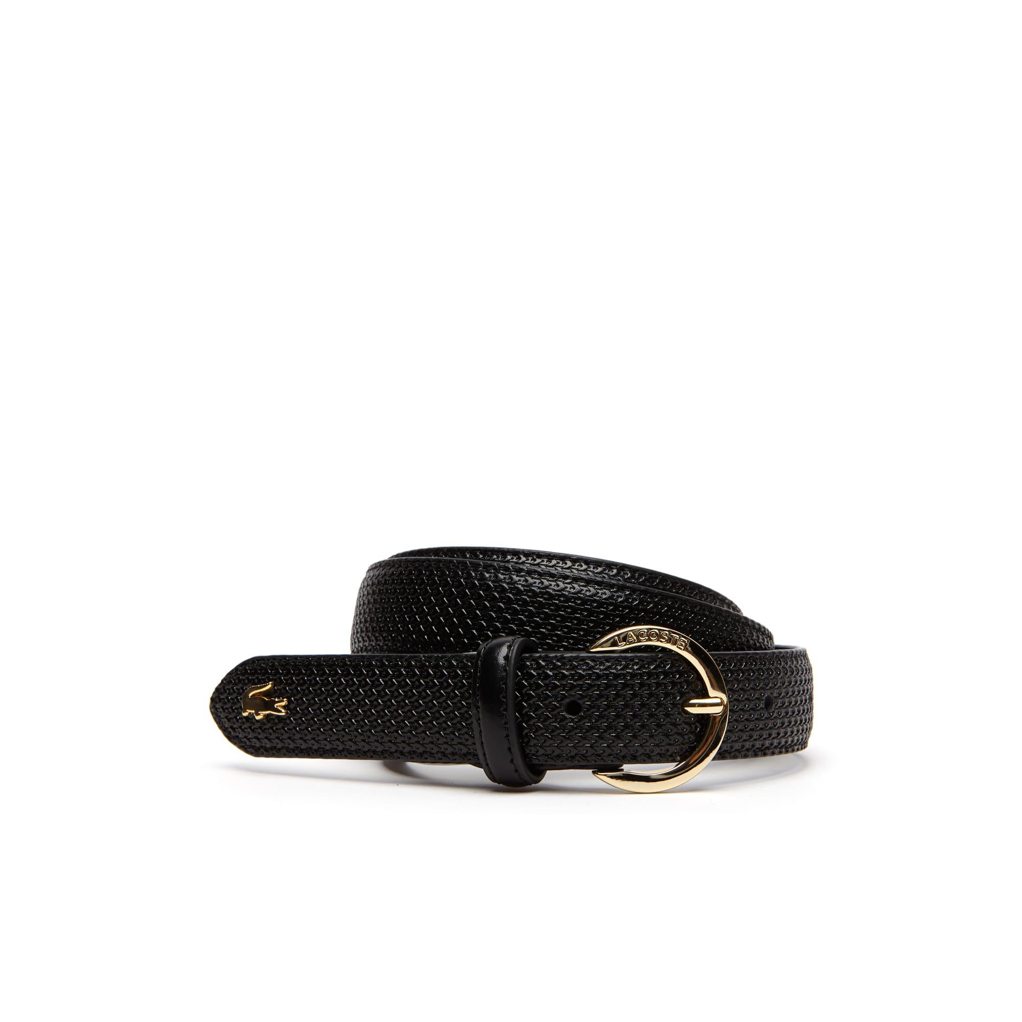 라코스테 여성 벨트 Womens Chantaco Lacoste Engraved Round Buckle Leather Belt,black