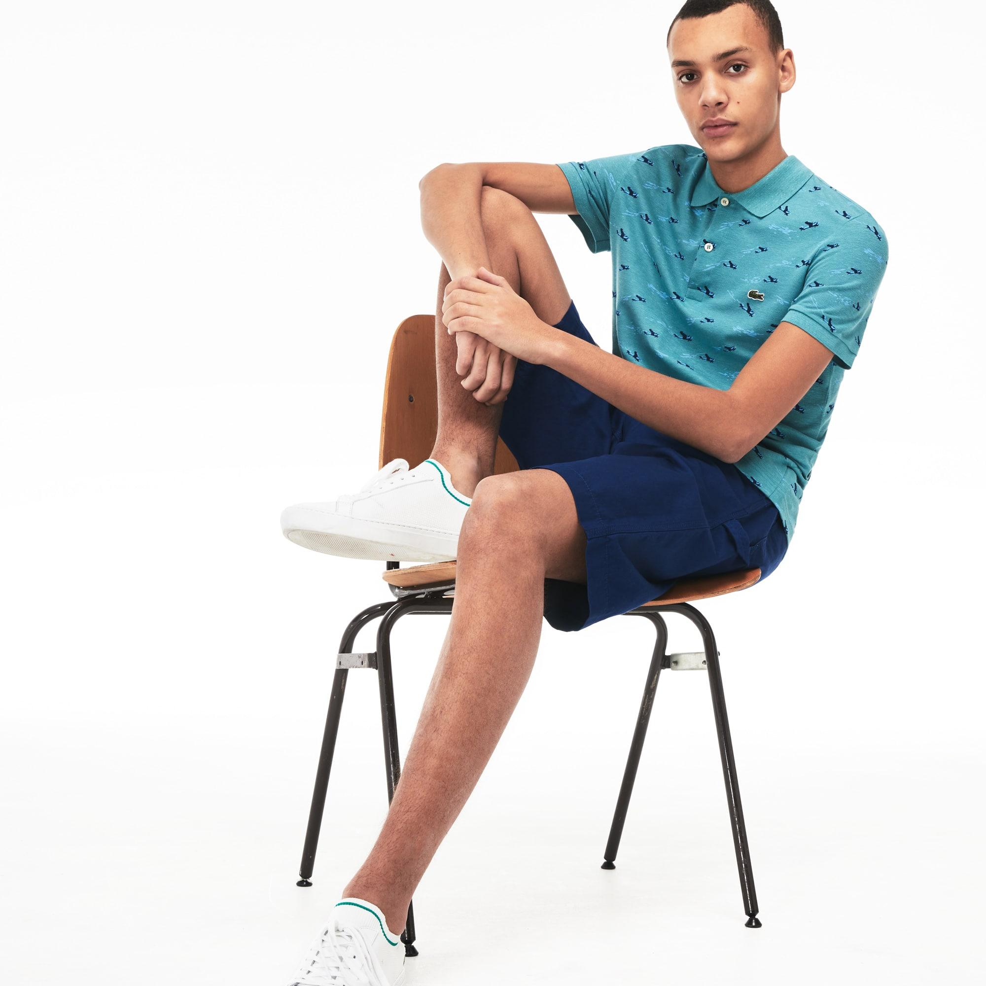 Men's Lacoste Slim Fit Airplane Print Cotton And Linen Piqué Polo Shirt