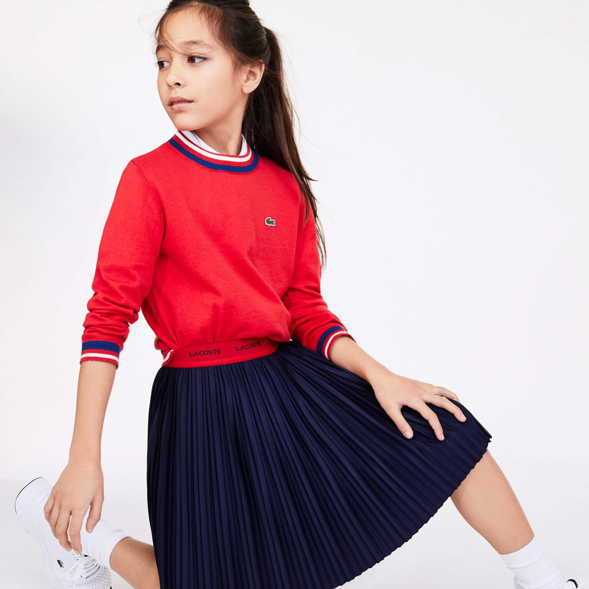 라코스테 Lacoste Girls Contrast Waistband Pleated Knit Skirt,Navy Blue / Red • 551