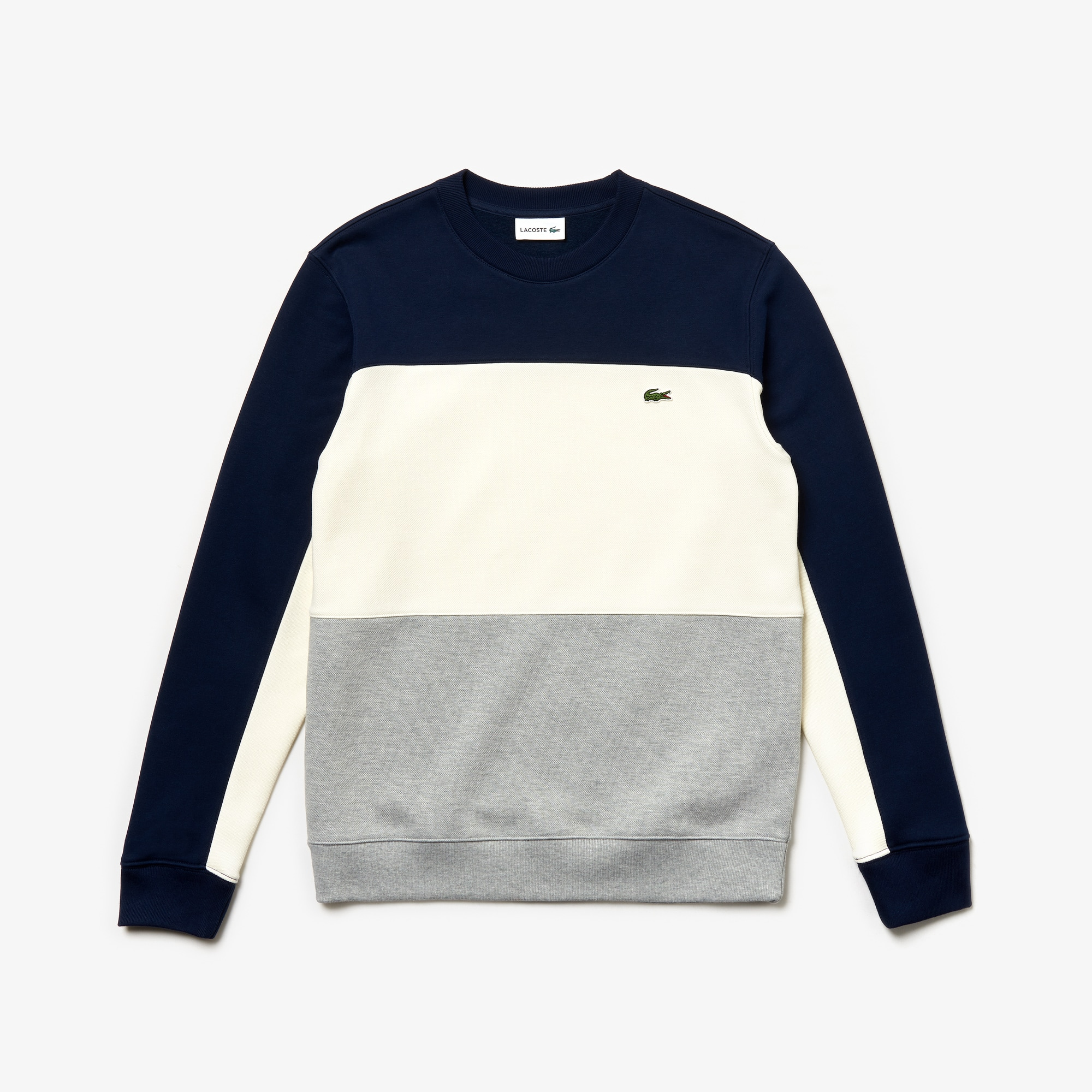 Men's Crew Neck Colorblock Piqué Fleece Sweatshirt
