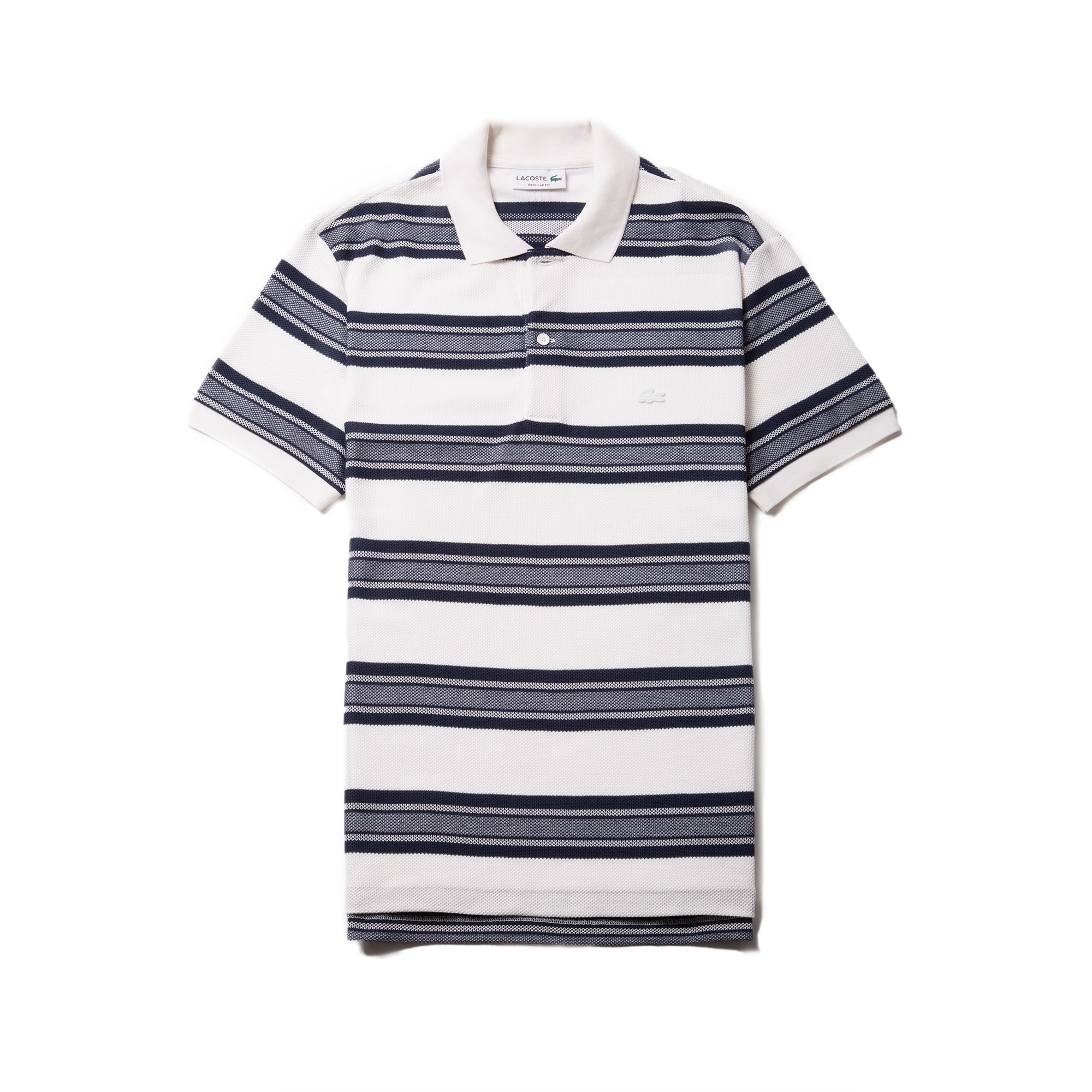Men's  Regular Fit Bicolor Stripes Knop Piqué Polo