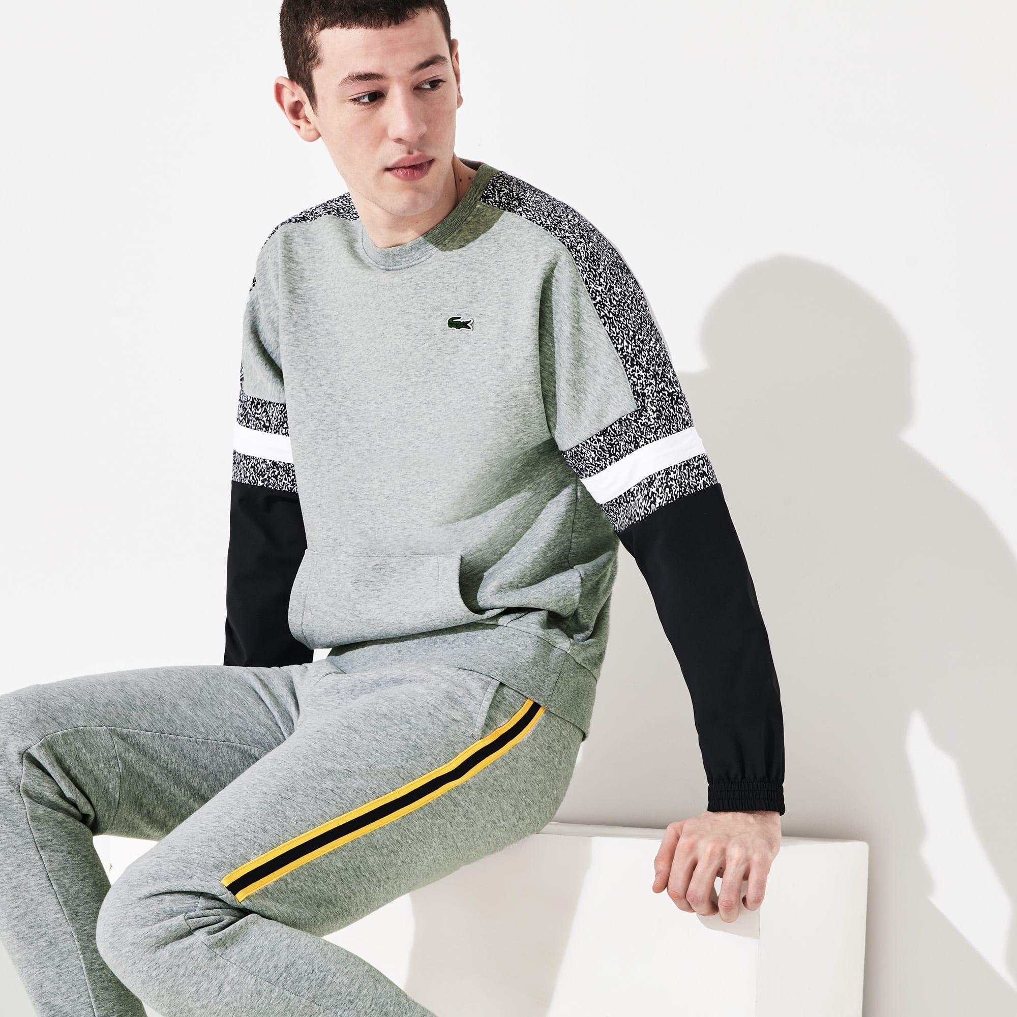 라코스테 스포츠 Lacoste Mens SPORT Print-Block Sweatshirt,Grey Chine / Black / White