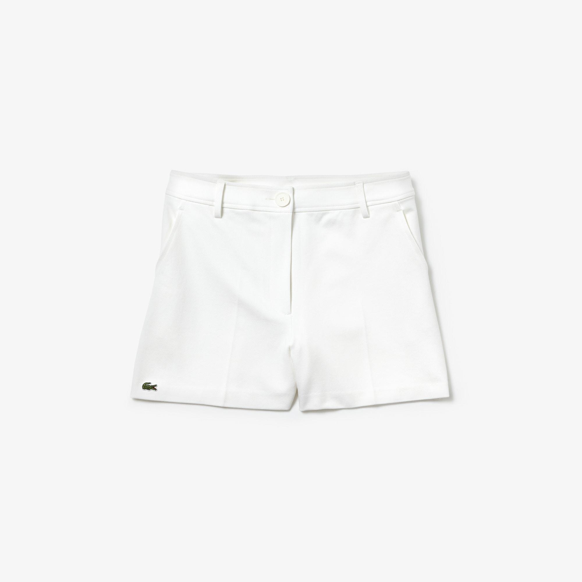 라코스테 Lacoste Womens Pleated Technical Knit Shorts,White - 70V (Selected color)
