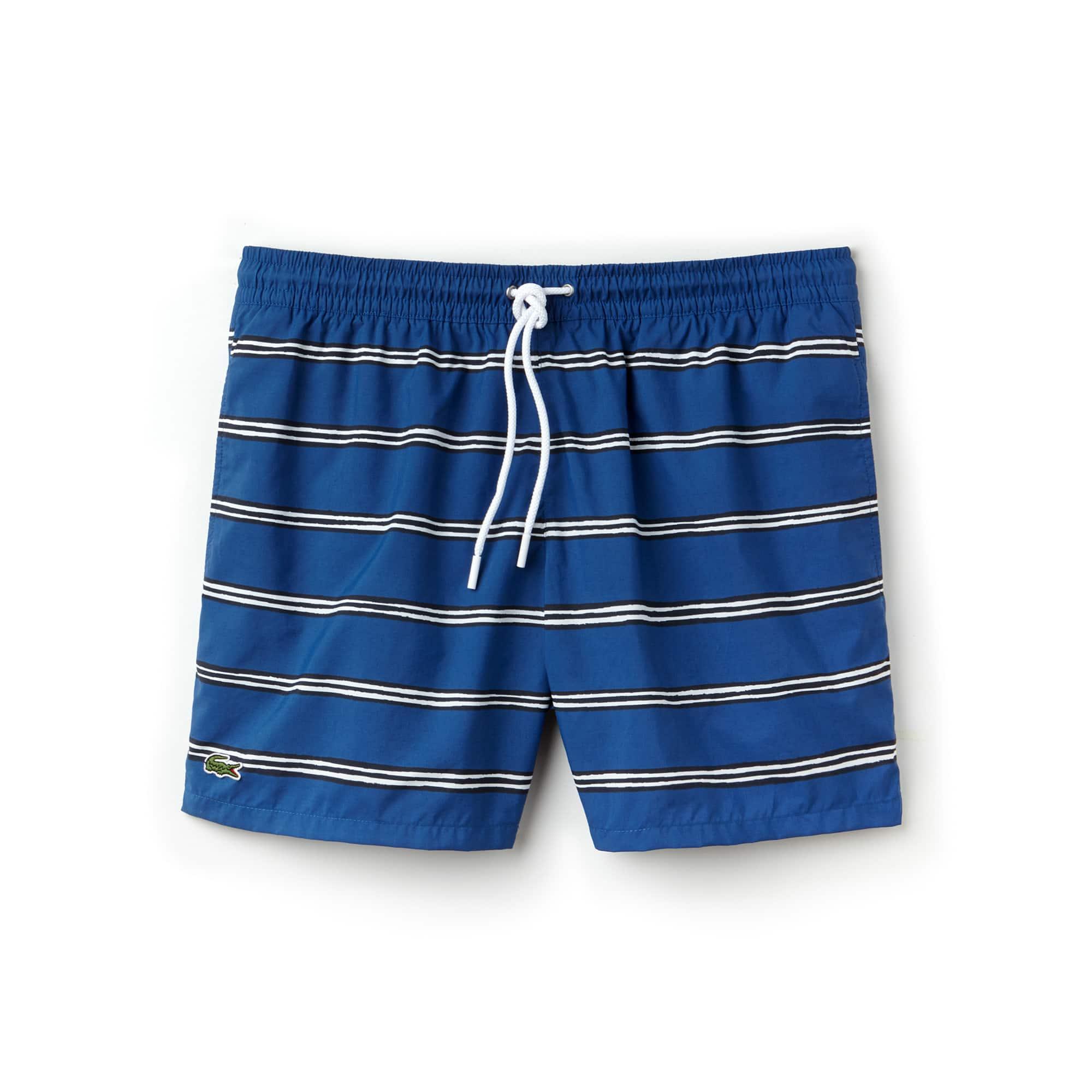 라코스테 수영복 바지 Lacoste Mens Striped Canvas Swimming Trunks,electric/multico