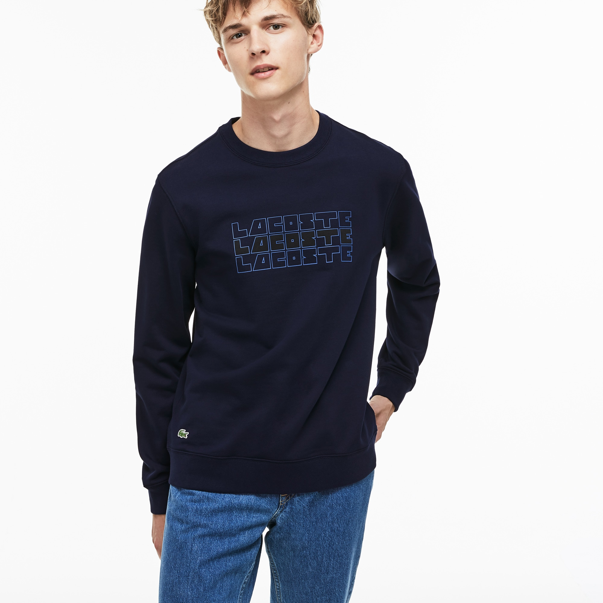 Men's Crew Neck Lettering Fleece Sweatshirt