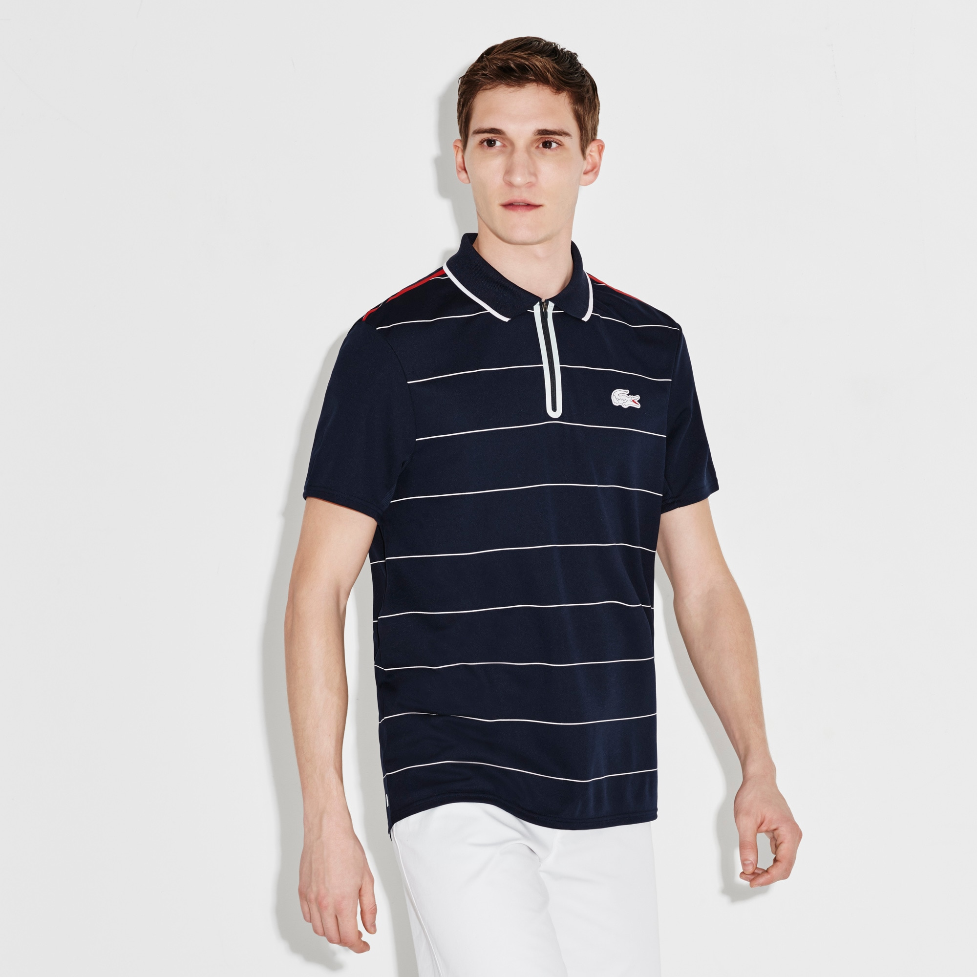 Men's SPORT French Open Striped Zip Neck Polo Shirt