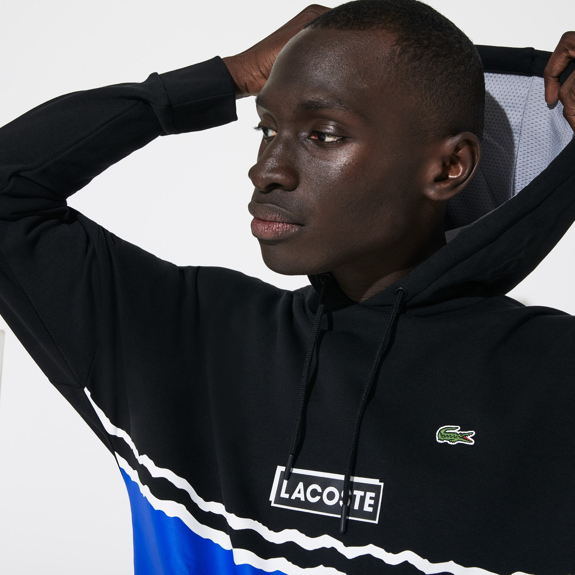 라코스테 후드티 Lacoste Men's SPORT Logo and Banded Stripe Hoodie,Black / Blue / White - LB9