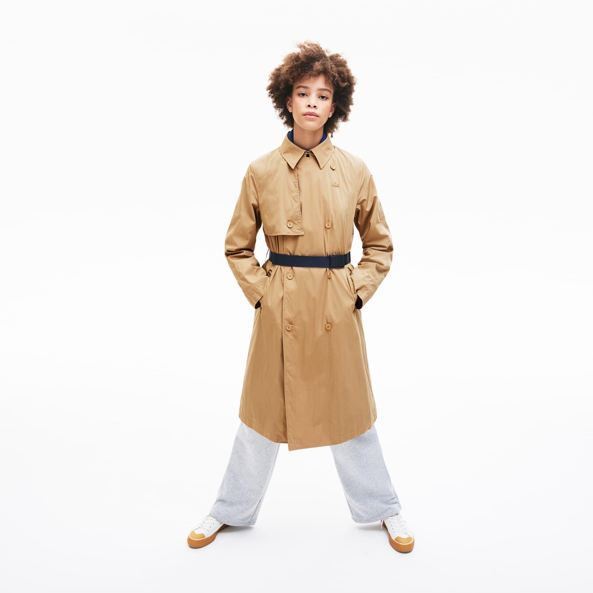 라코스테 배색 벨트 트렌치 코트 - 베이지 Lacoste Womens Contrast Belt Trench Coat