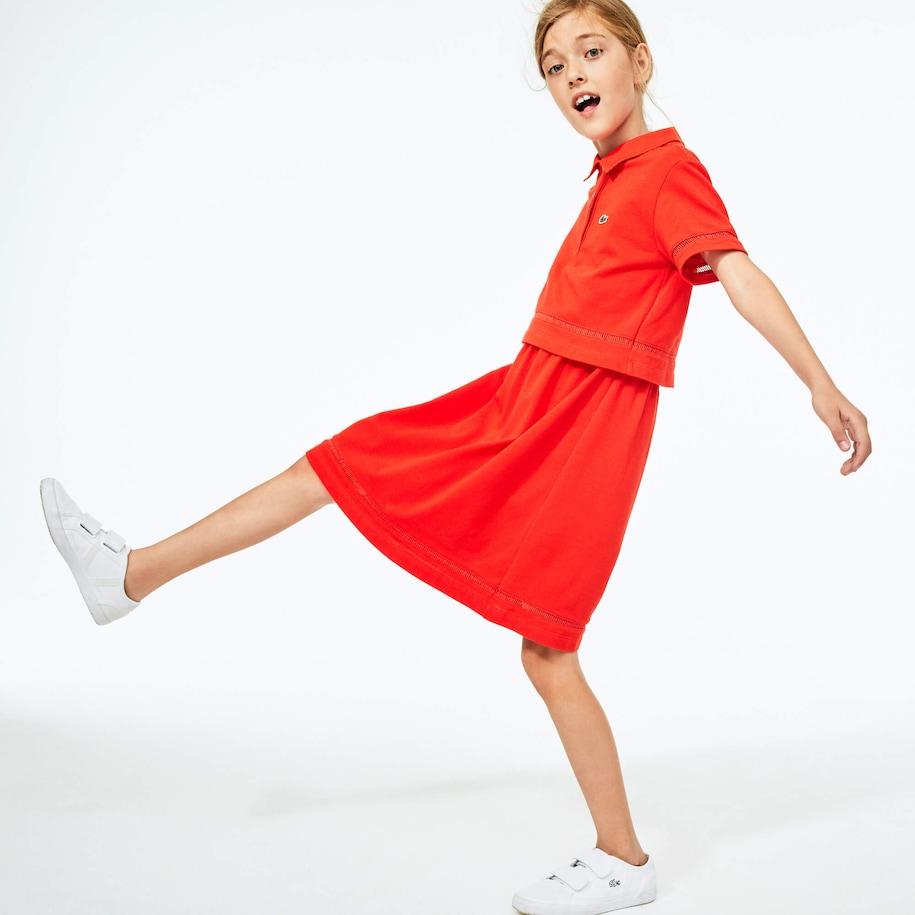 Girls' Cotton Petit Piqué Polo Dress