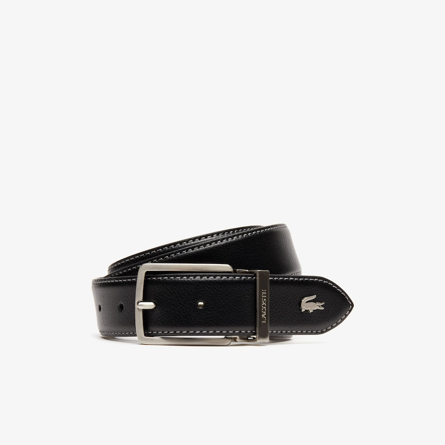 Men's Engraved-Buckle Grained Leather Belt