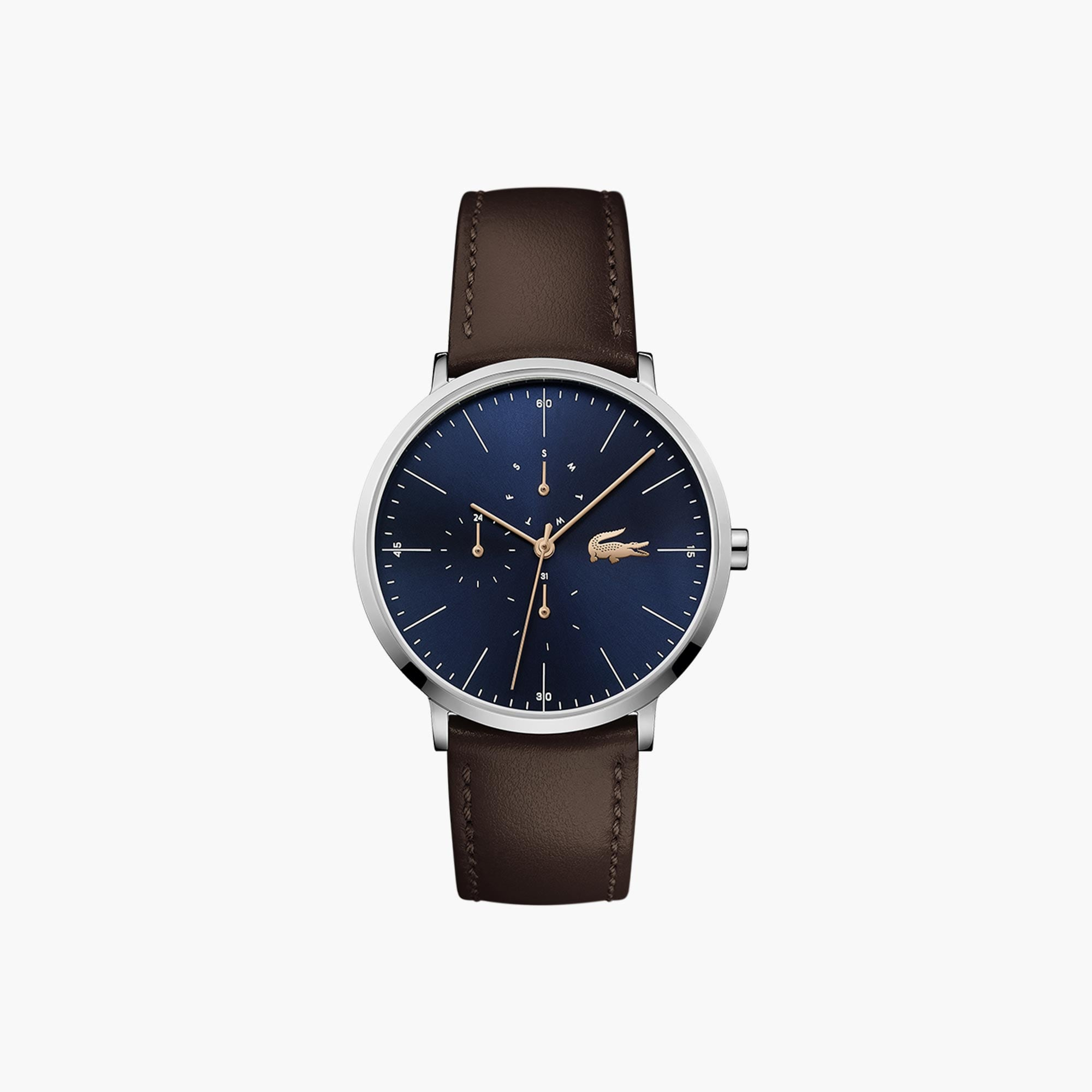 Men's Moon Multifunctions Ultra Slim Watch with Brown Leather Strap ...