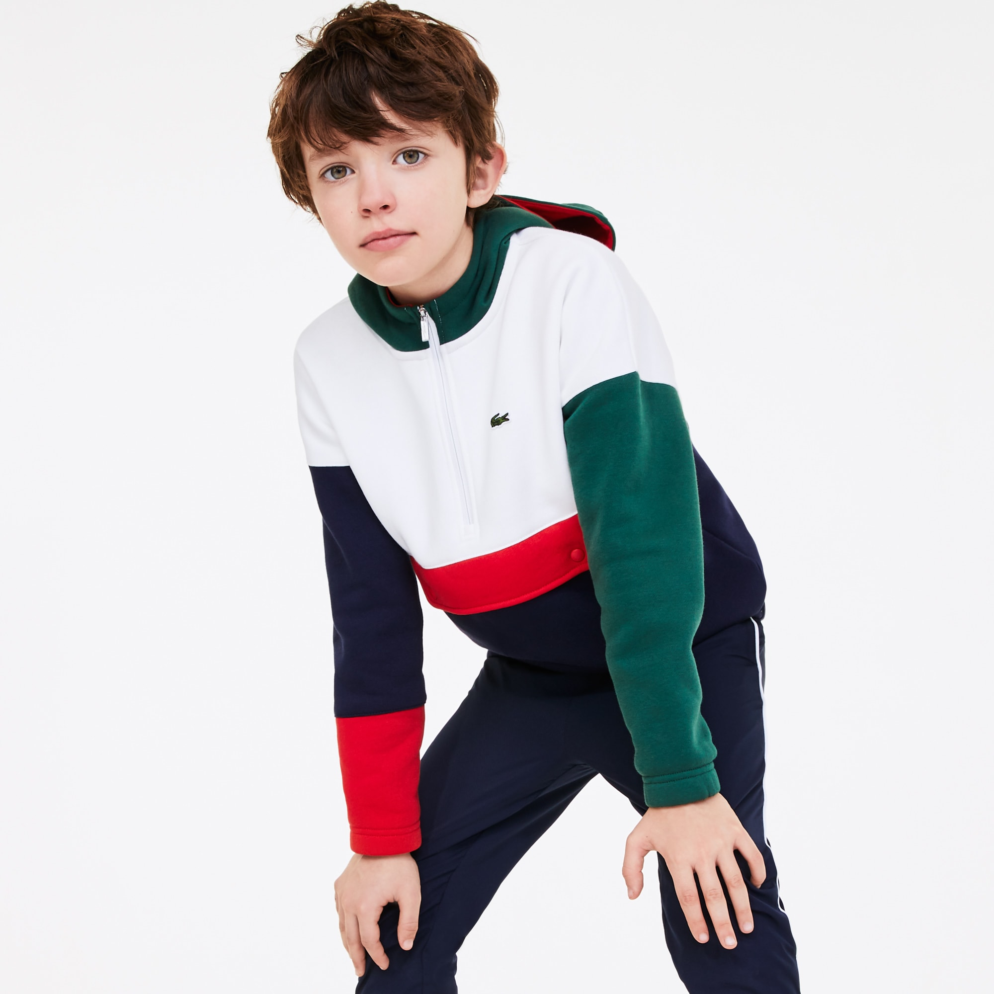 라코스테 Lacoste Boys' Colourblock Pullover Fleece Sweatshirt,Green / White / Navy Blue / Red • 8GJ