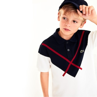 라코스테 키즈 폴로 반팔티 Lacoste Boys Made In France Jacquard Pique Polo Shirt