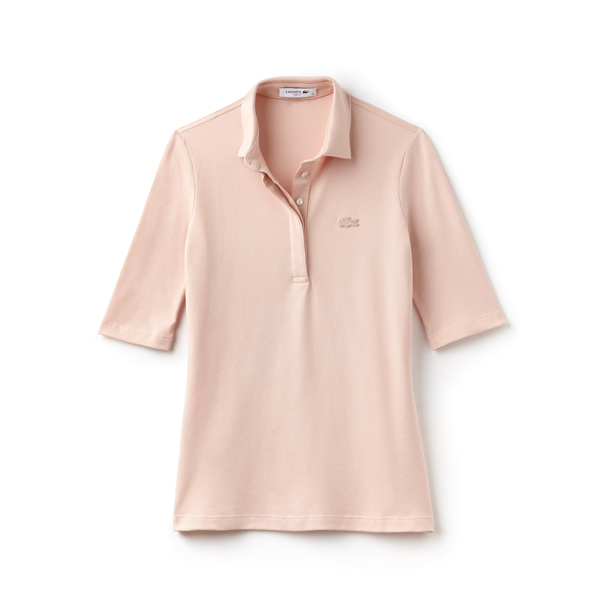 라코스테 Lacoste Womens Slim Fit Stretch Mini Pique Polo Shirt,pink
