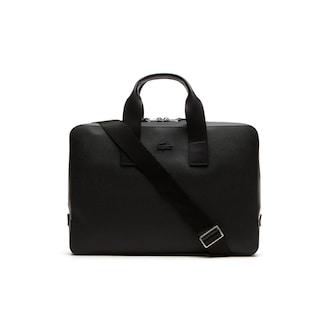 라코스테 Lacoste Mens Chantaco Matte Leather Computer Bag,BLACK - 000