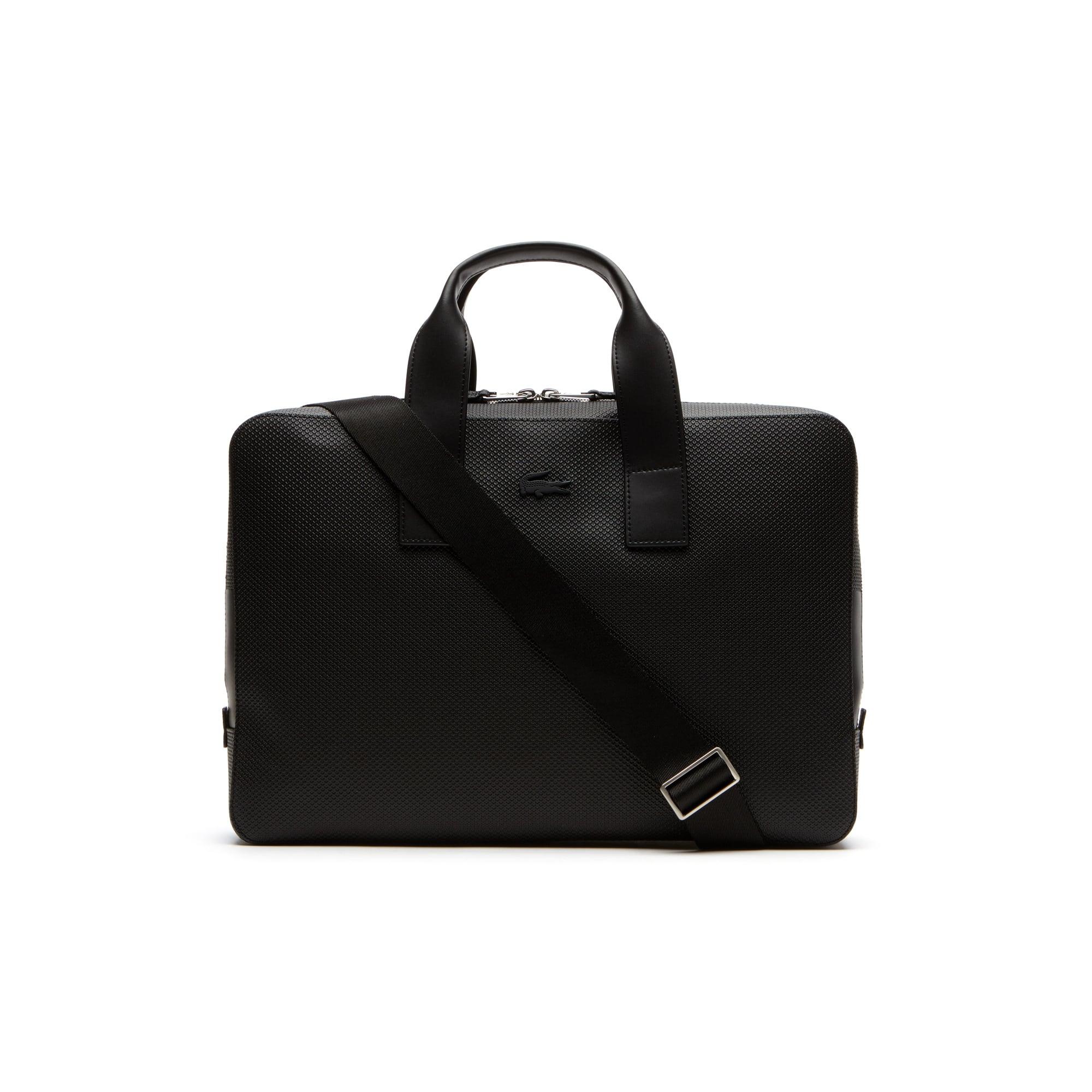 라코스테 메신저백 Lacoste Mens Chantaco Matte Pique Leather Computer Bag,black