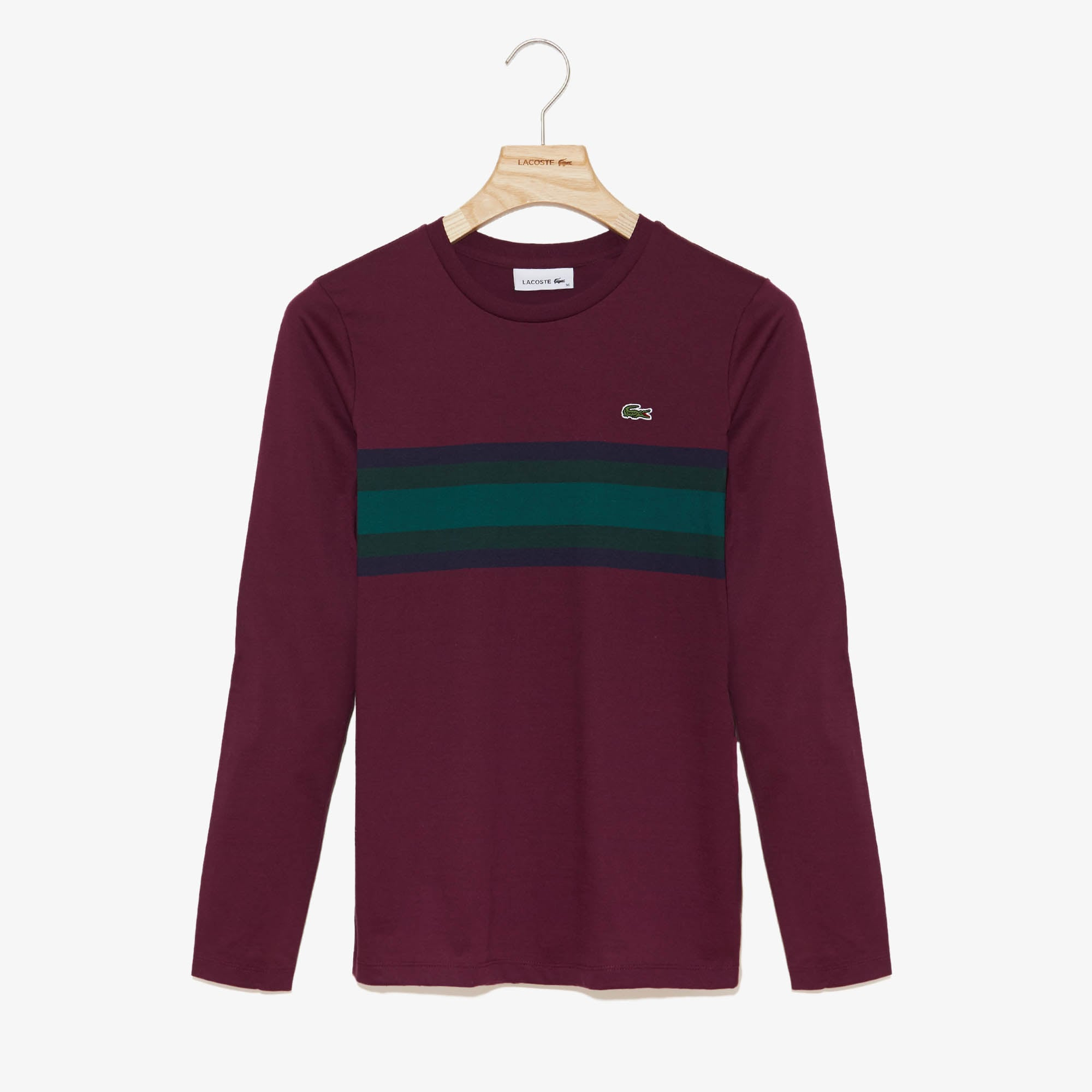 Lacoste Tops Women's Long Sleeve Multicolor Stripe T-Shirt