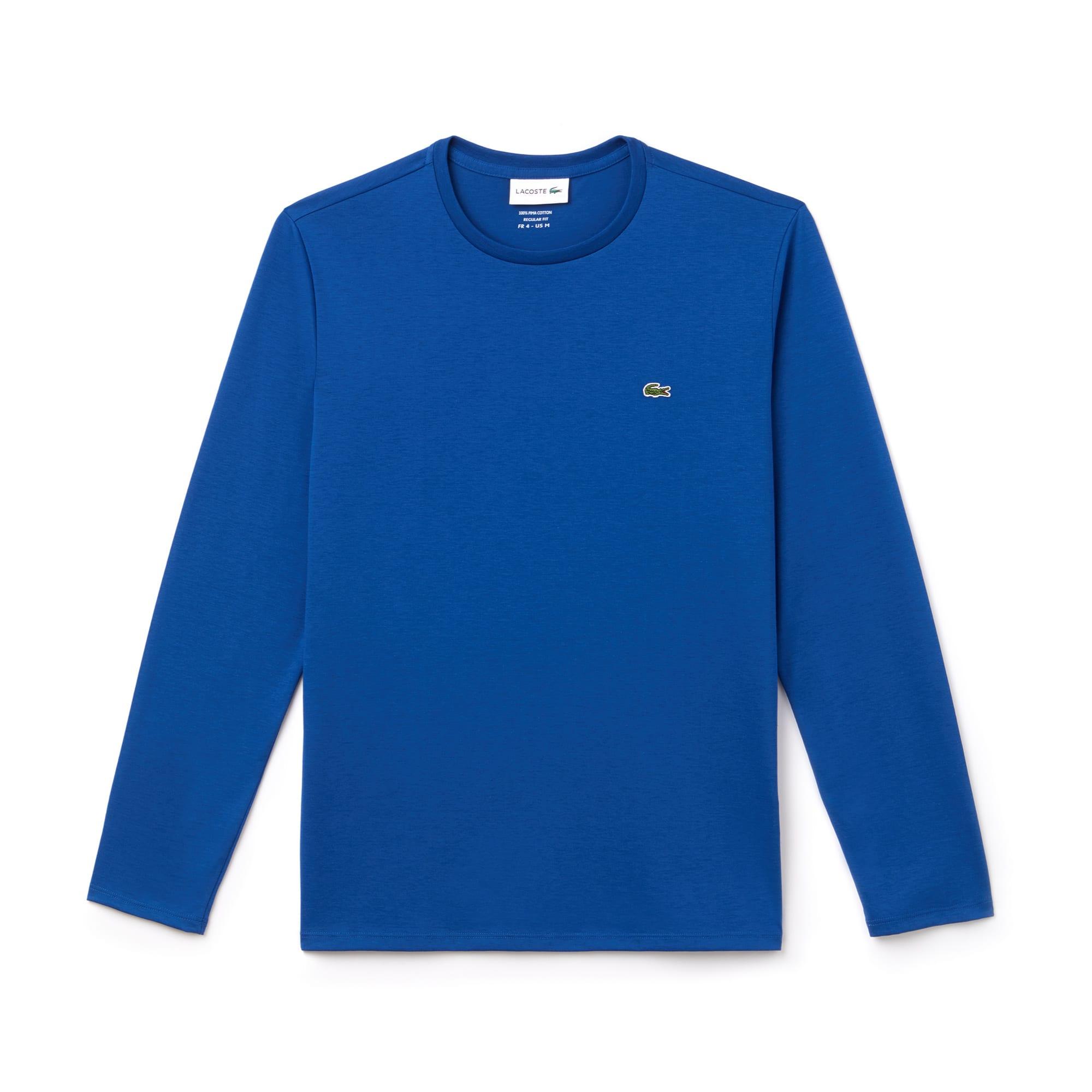 라코스테 긴팔 티셔츠 Lacoste Mens Crew Neck Pima Cotton Jersey T-shirt,electric