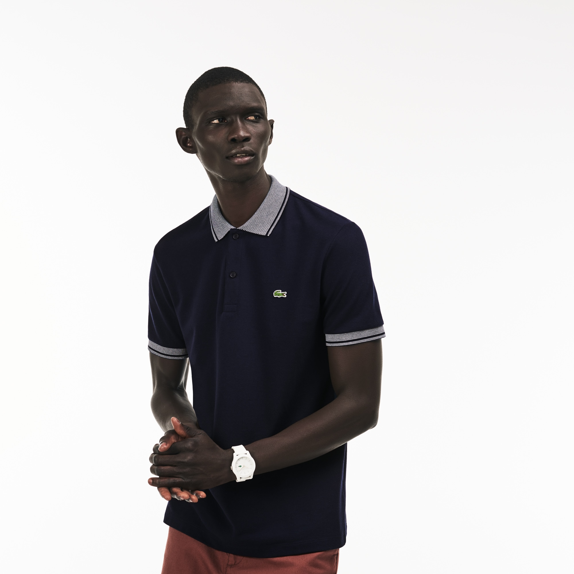 Men's Lacoste Regular Fit Piped Cotton Petit Piqué Polo