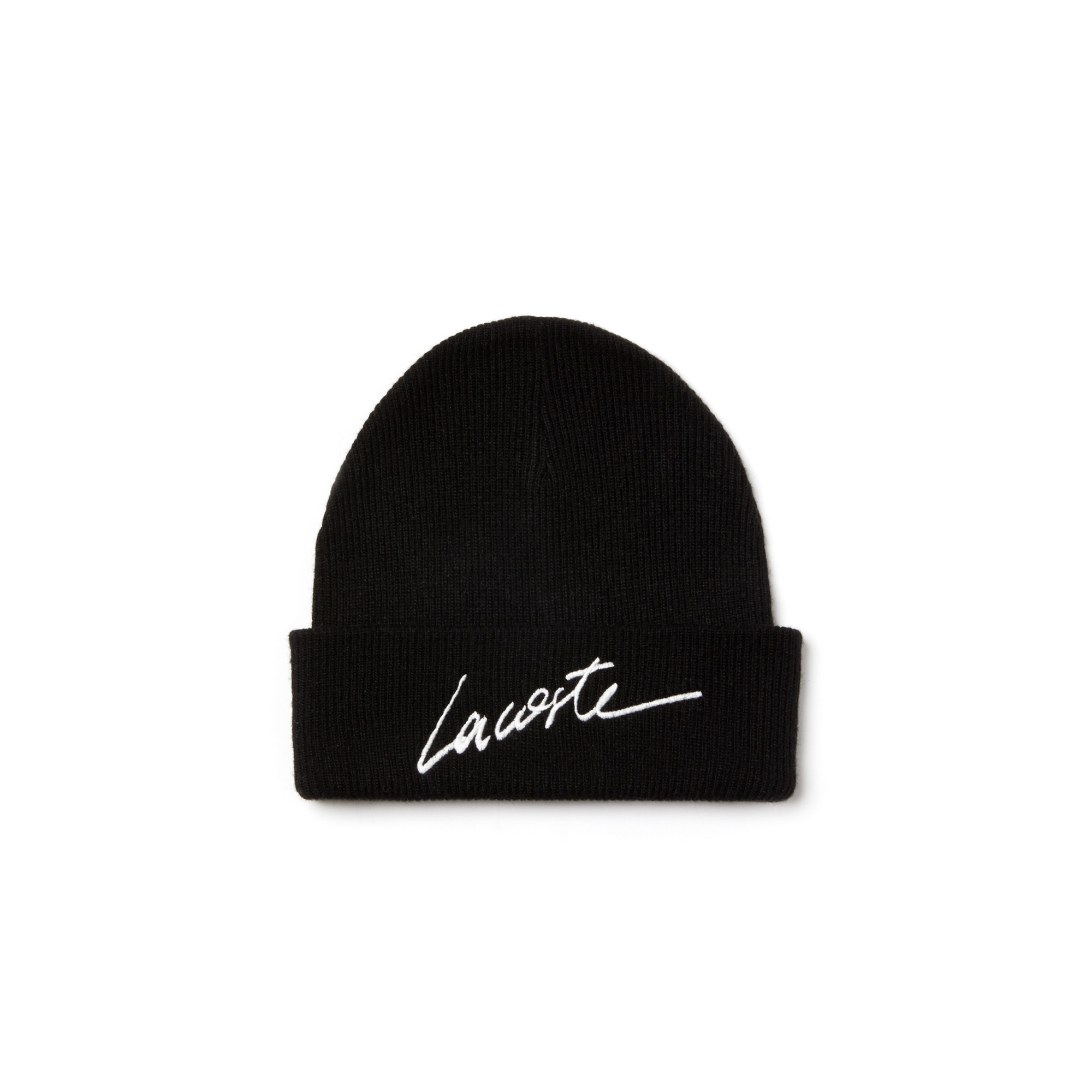 Unisex 라코스테 Lacoste LIVE Turned Edge Ribbed Wool Beanie,black/geode