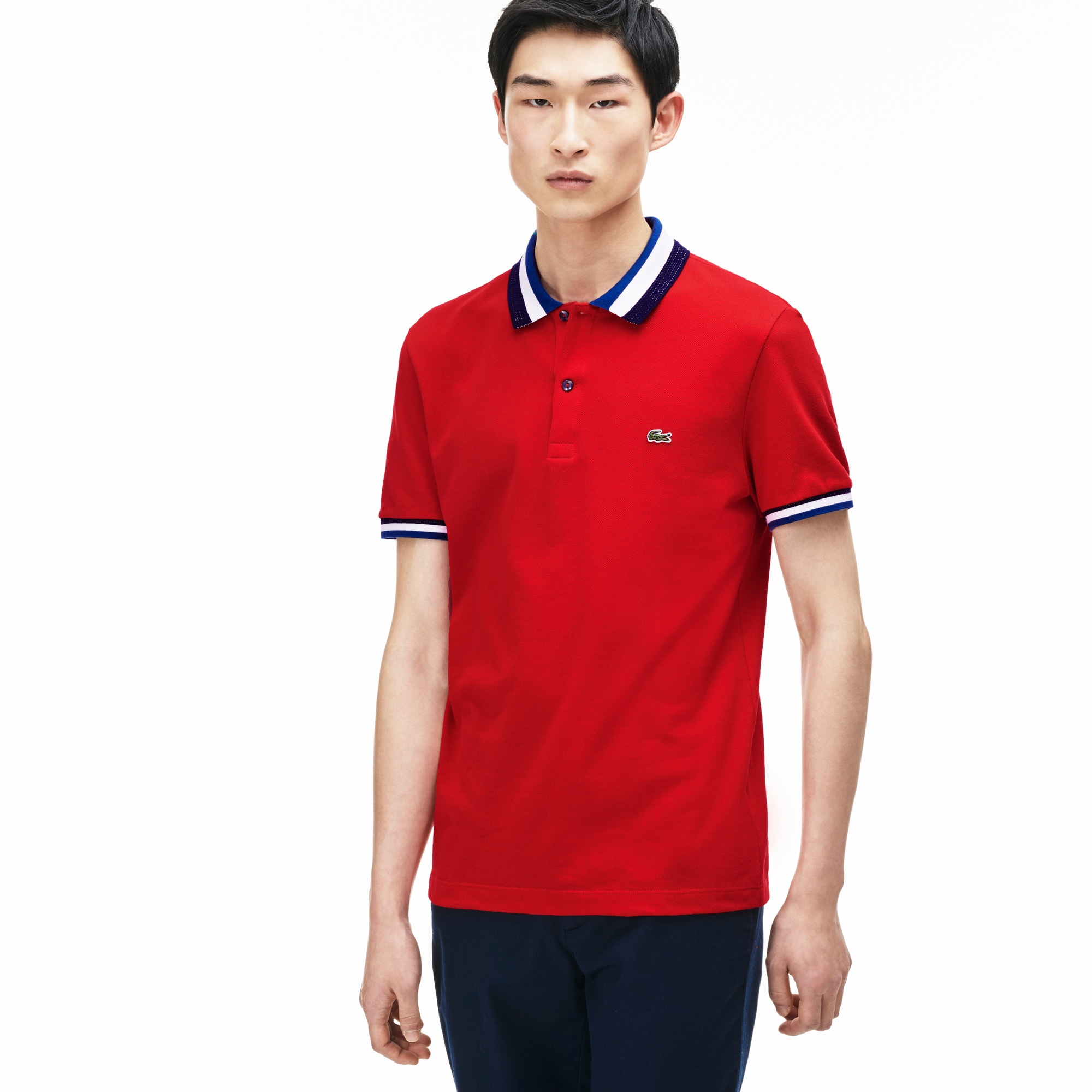 Men's Lacoste Matte Piping Petit Piqué Slim Fit Polo