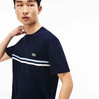 라코스테 Lacoste Mens Made In France Cotton T-shirt,Navy Blue / White / Light Blue