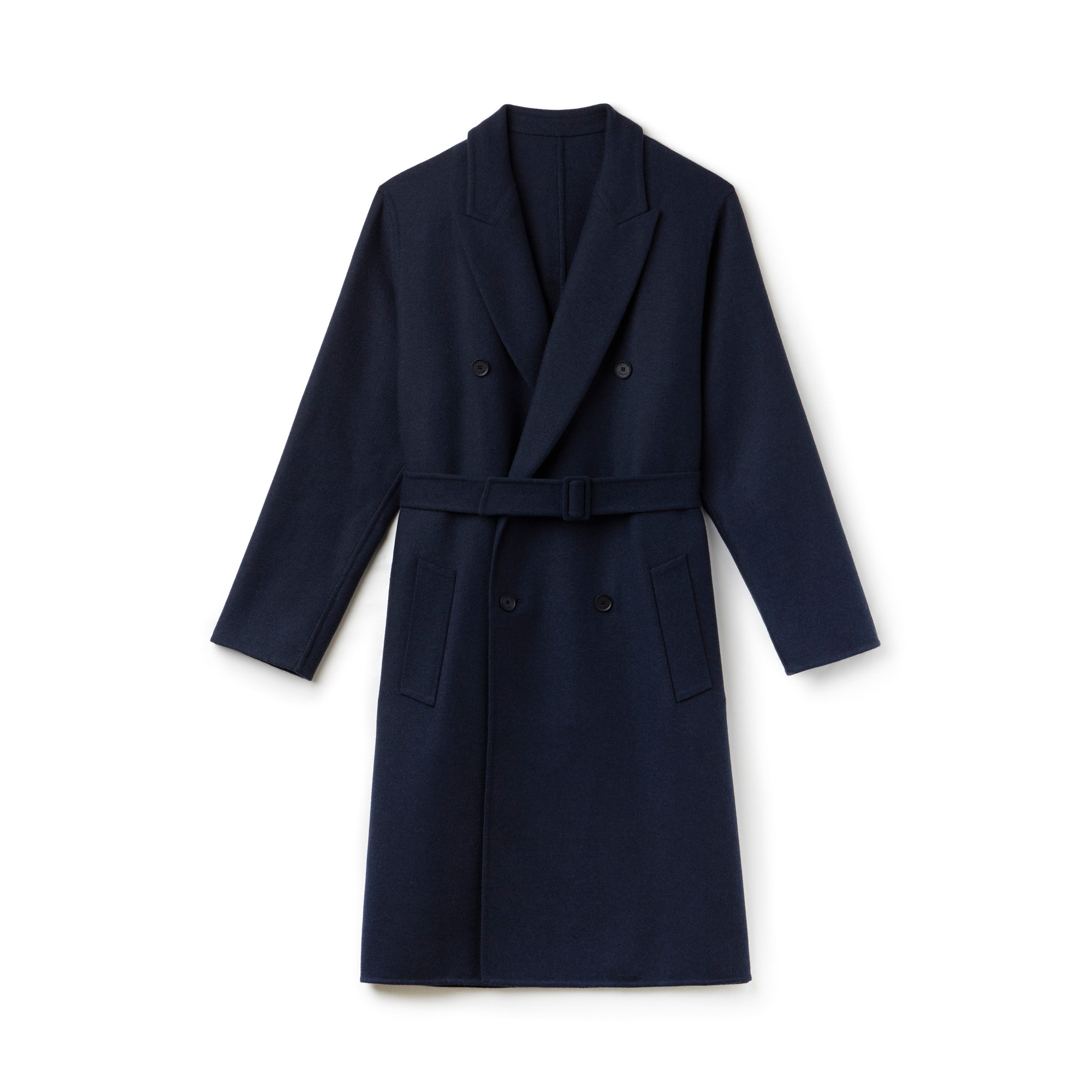 Unisex Fashion Show Wraparound Belted Wool Coat