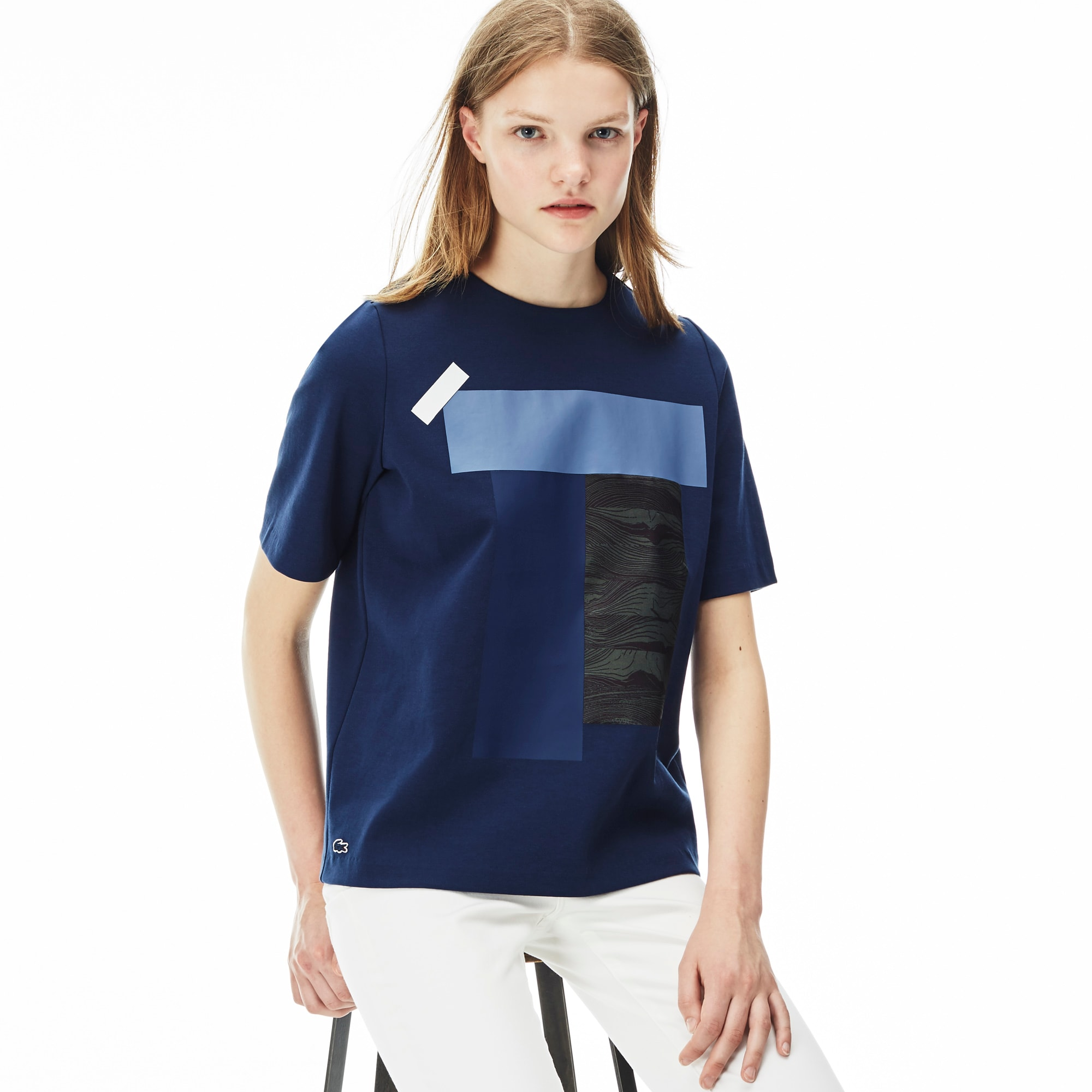Women's L!VE Crew Neck Colorblock Print T-shirt