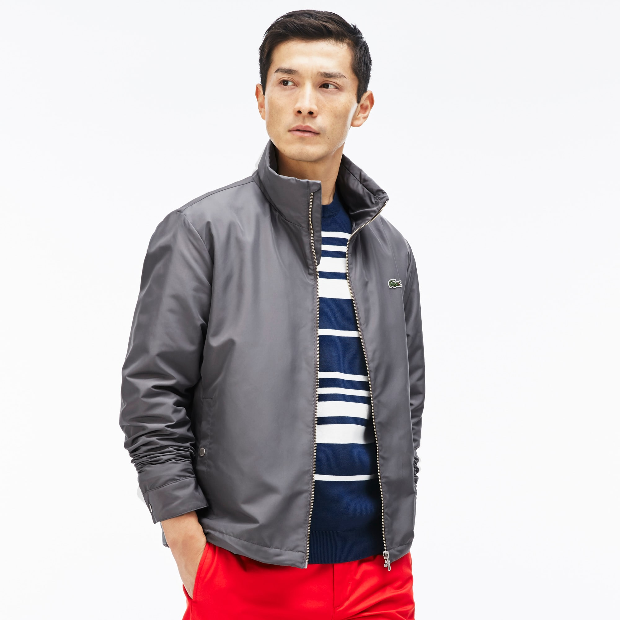 Men's Unicolor Nylon Contrasting Accents Hooded Zippered Jacket