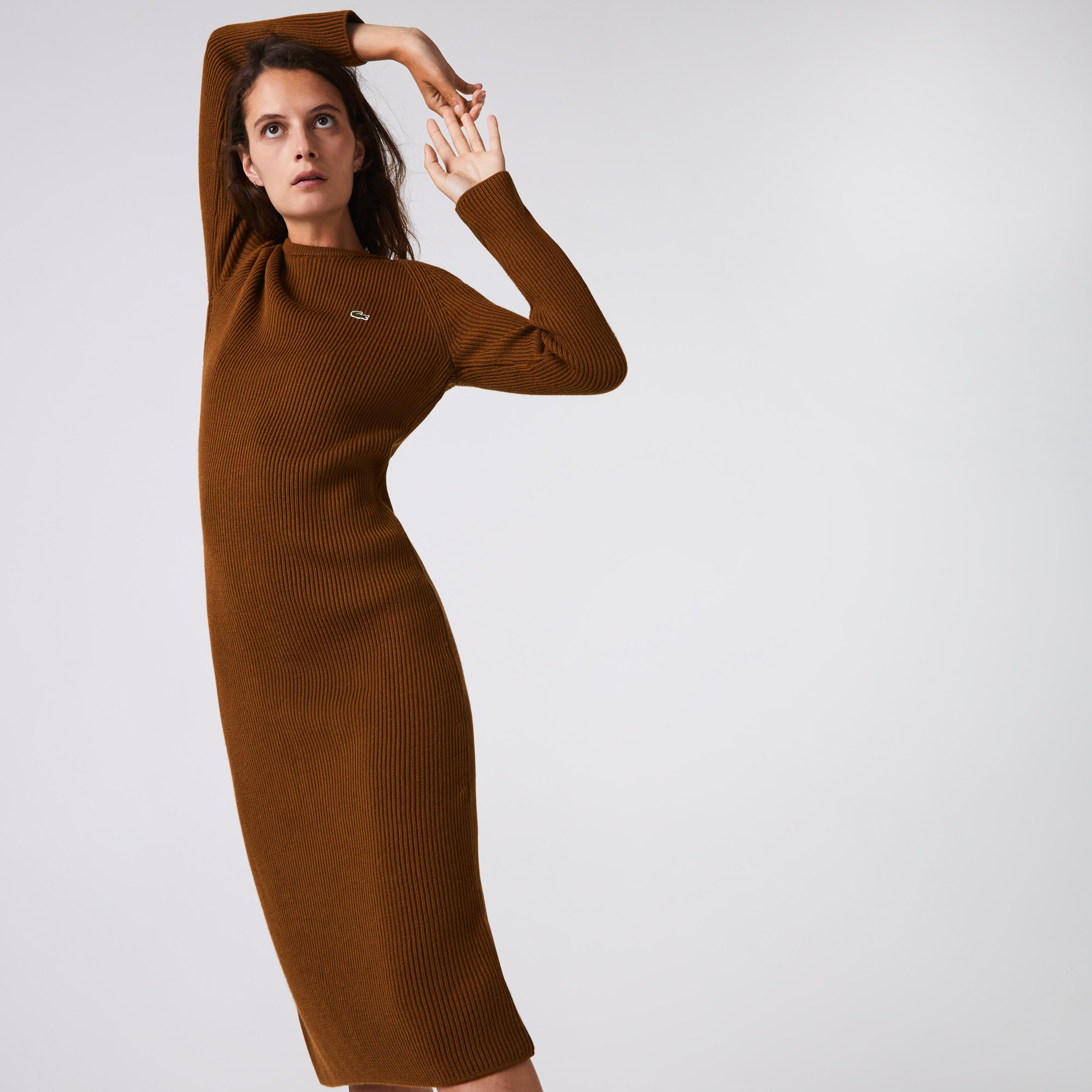라코스테 골지 울 혼방 롱 원피스 - 2 컬러 (오연서 착용) Lacoste Womens Long Ribbed Wool Blend Sweater Dress
