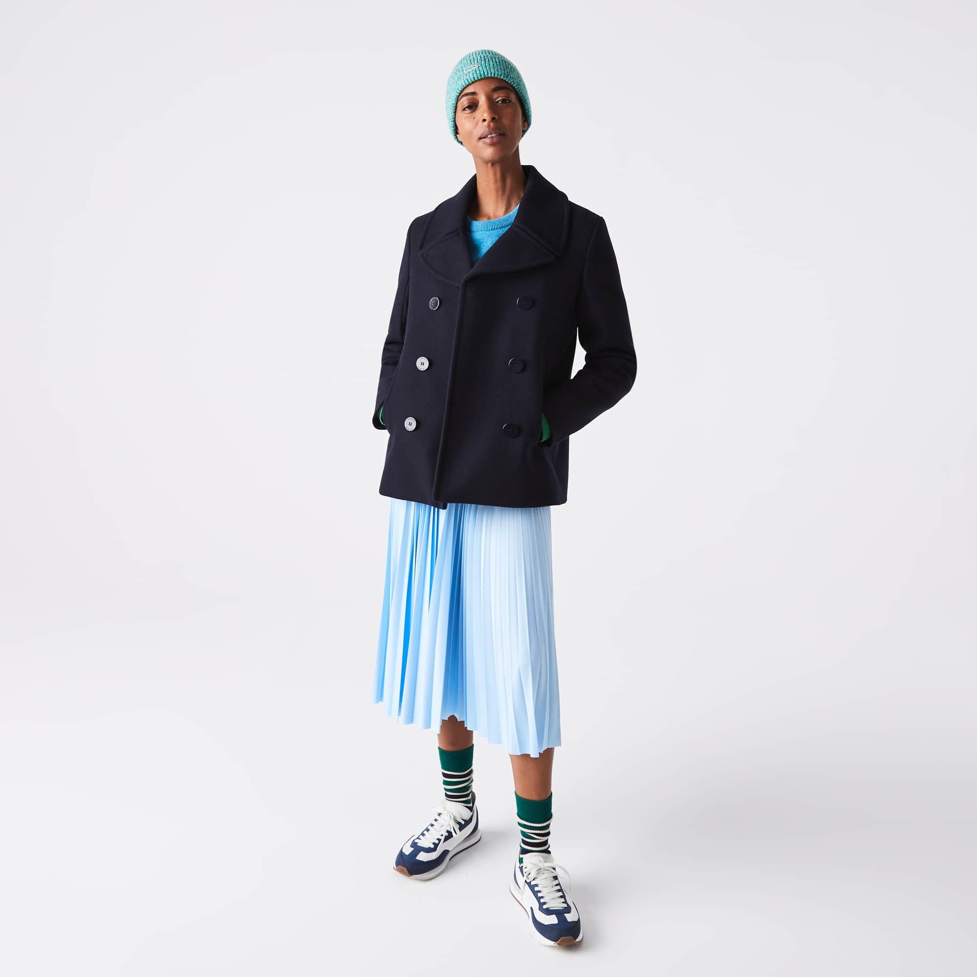 라코스테 스커트 Women's Lacoste Lettered Waist Mid-Length Pleated Skirt,Light Blue G5J