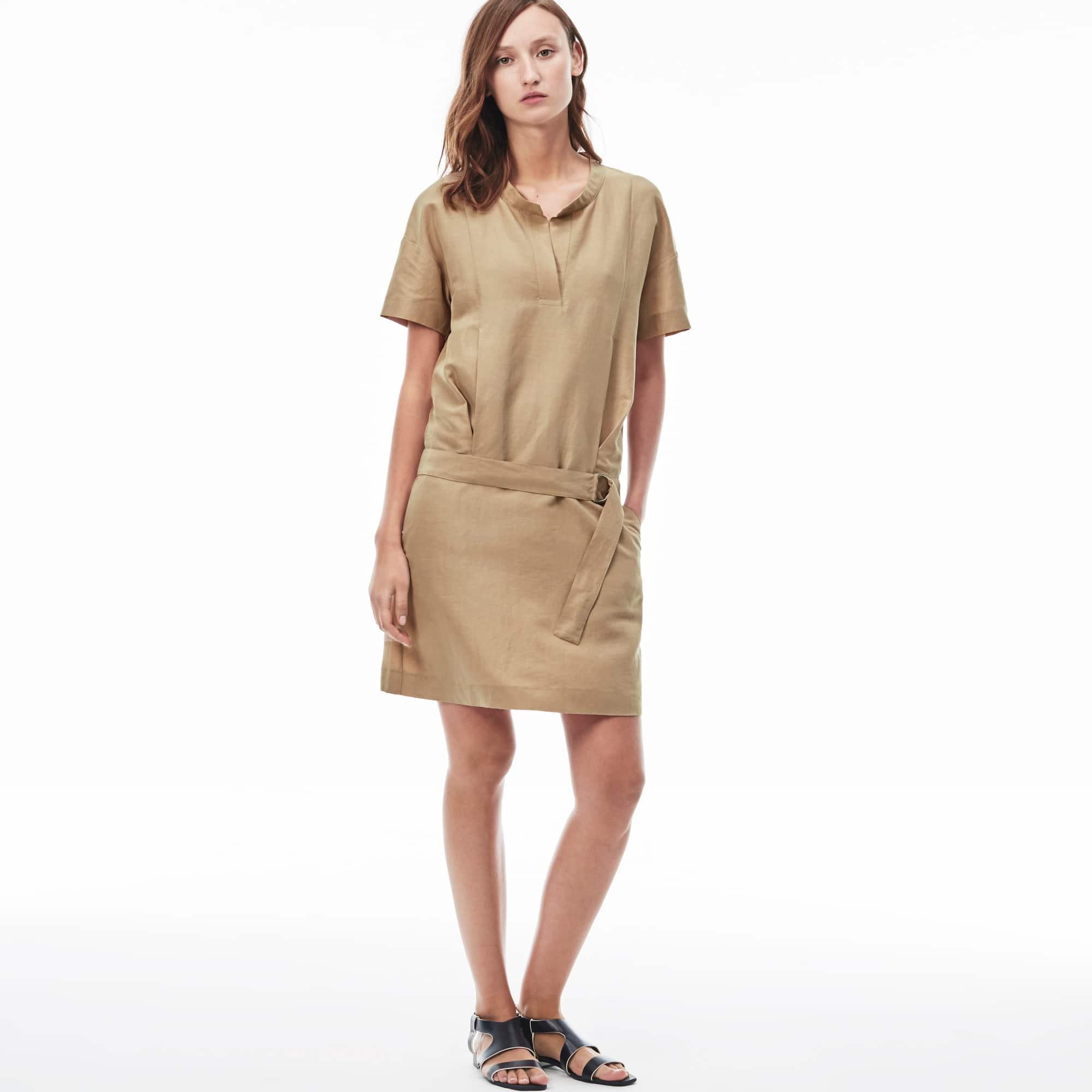Women's Canvas Belted T-Shirt Dress