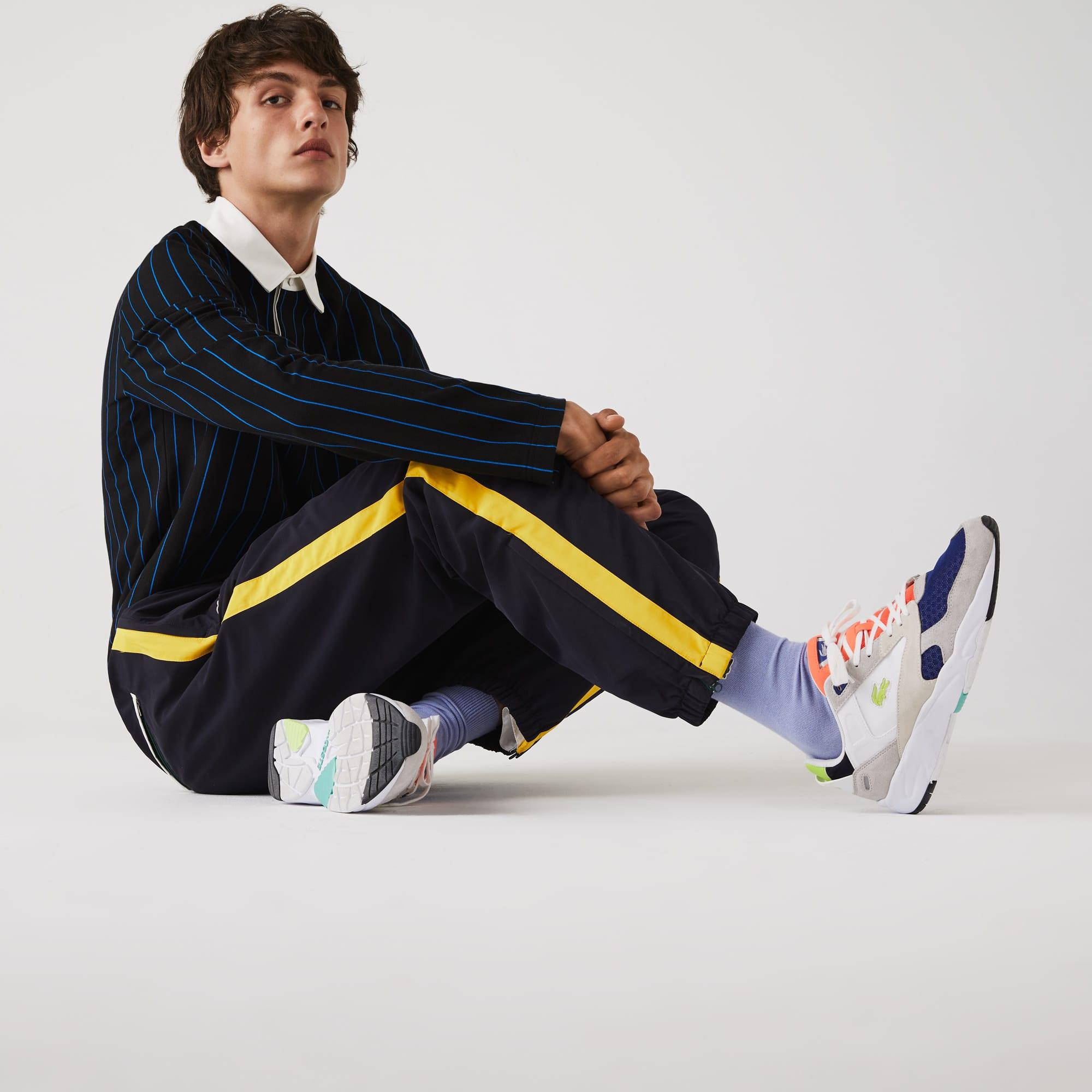 라코스테 트랙팬츠 Lacoste Mens Contrast Striped Water-Repellant Tracksuit Pants,Navy Blue / Yellow / White • G8Y