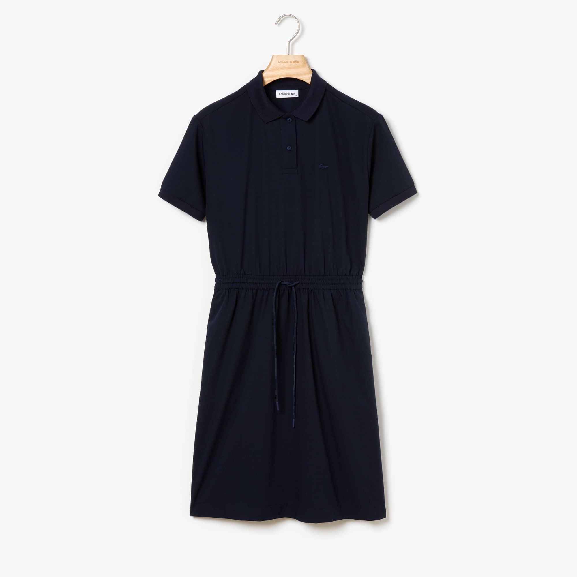 라코스테 플로잉 개버딘 폴로 원피스 Lacoste Womens Flowing Gabardine Polo Dress,Navy Blue